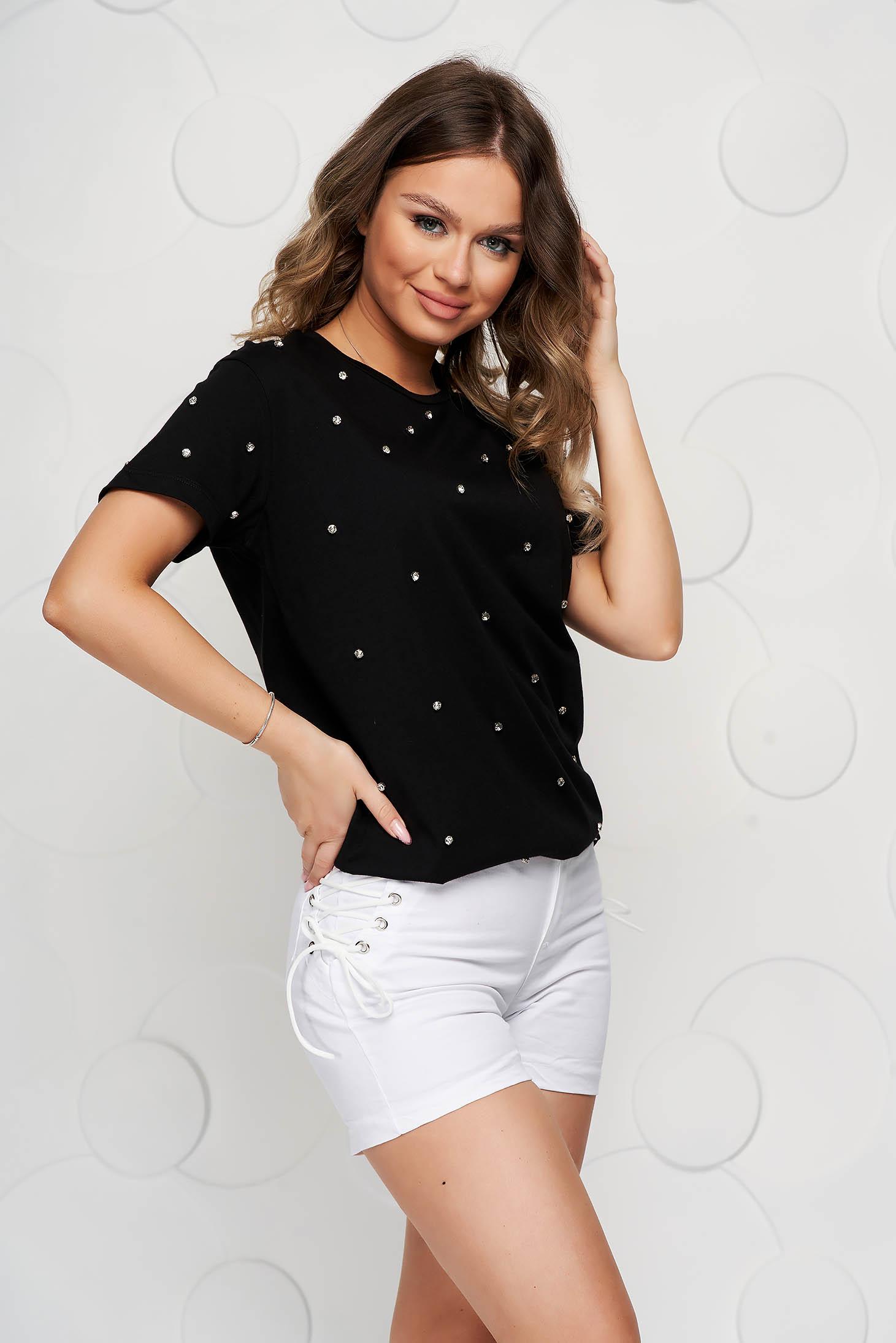 Tricou SunShine negru din bumbac cu pietre strass cu croi larg
