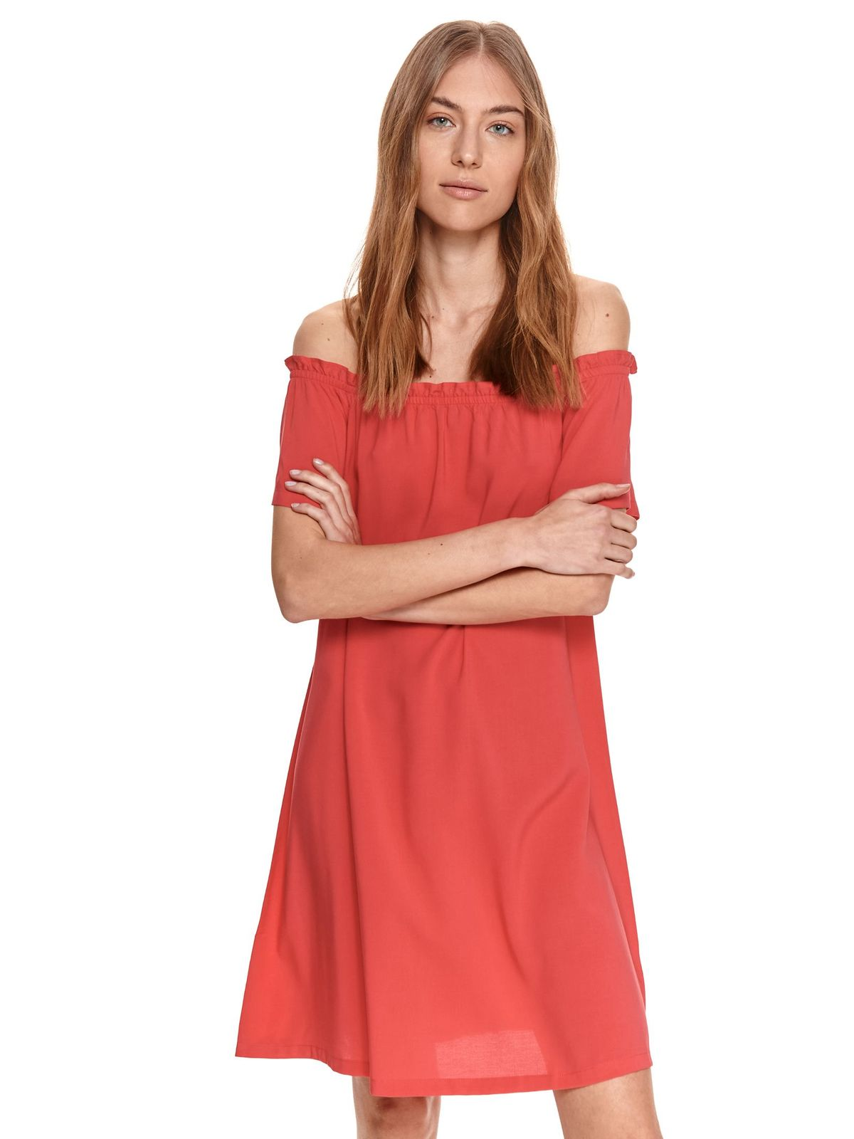 Pink dress airy fabric on the shoulders loose fit
