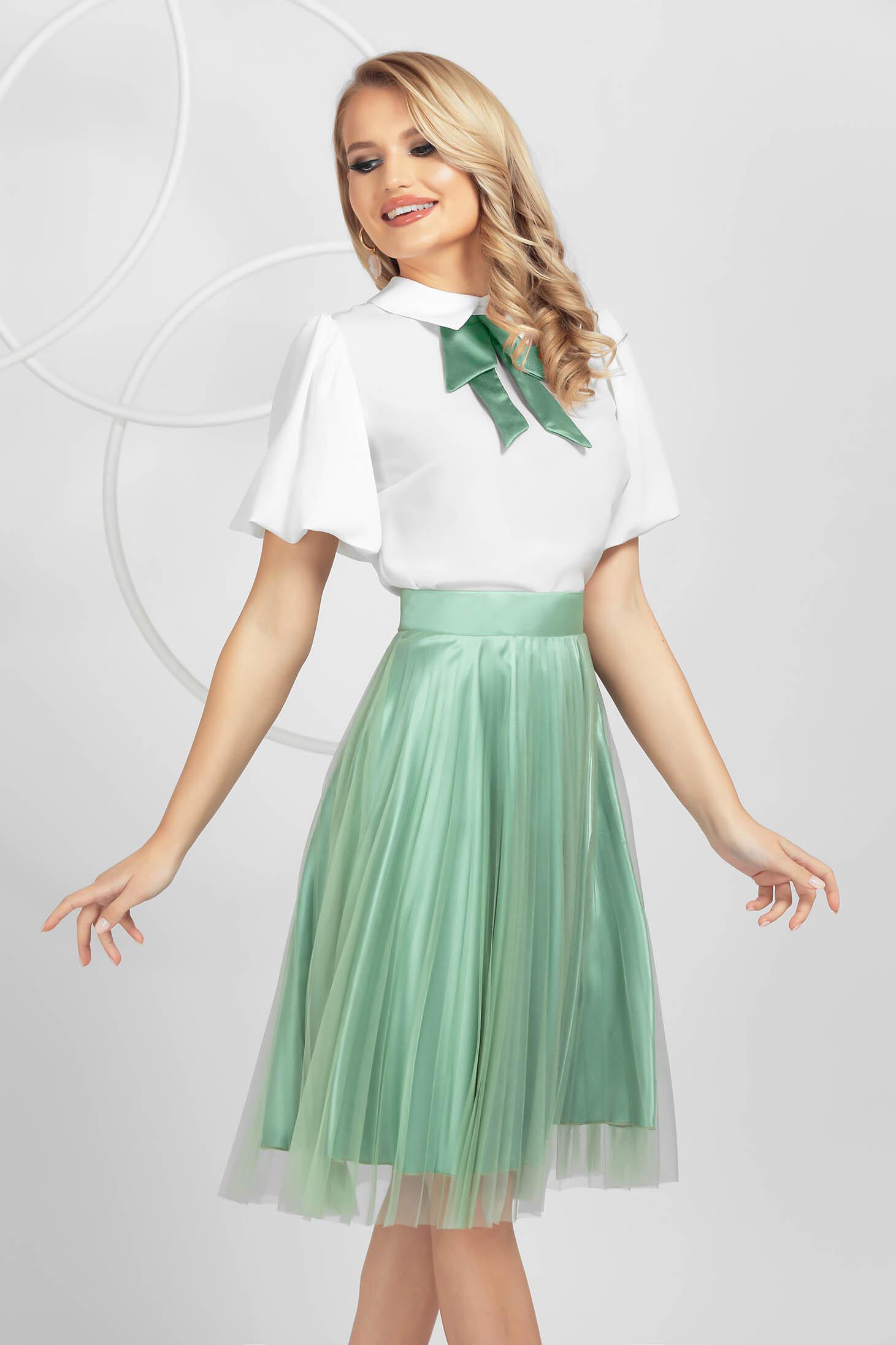 Fusta PrettyGirl verde-deschis eleganta plisata midi in clos din tul cu talie inalta