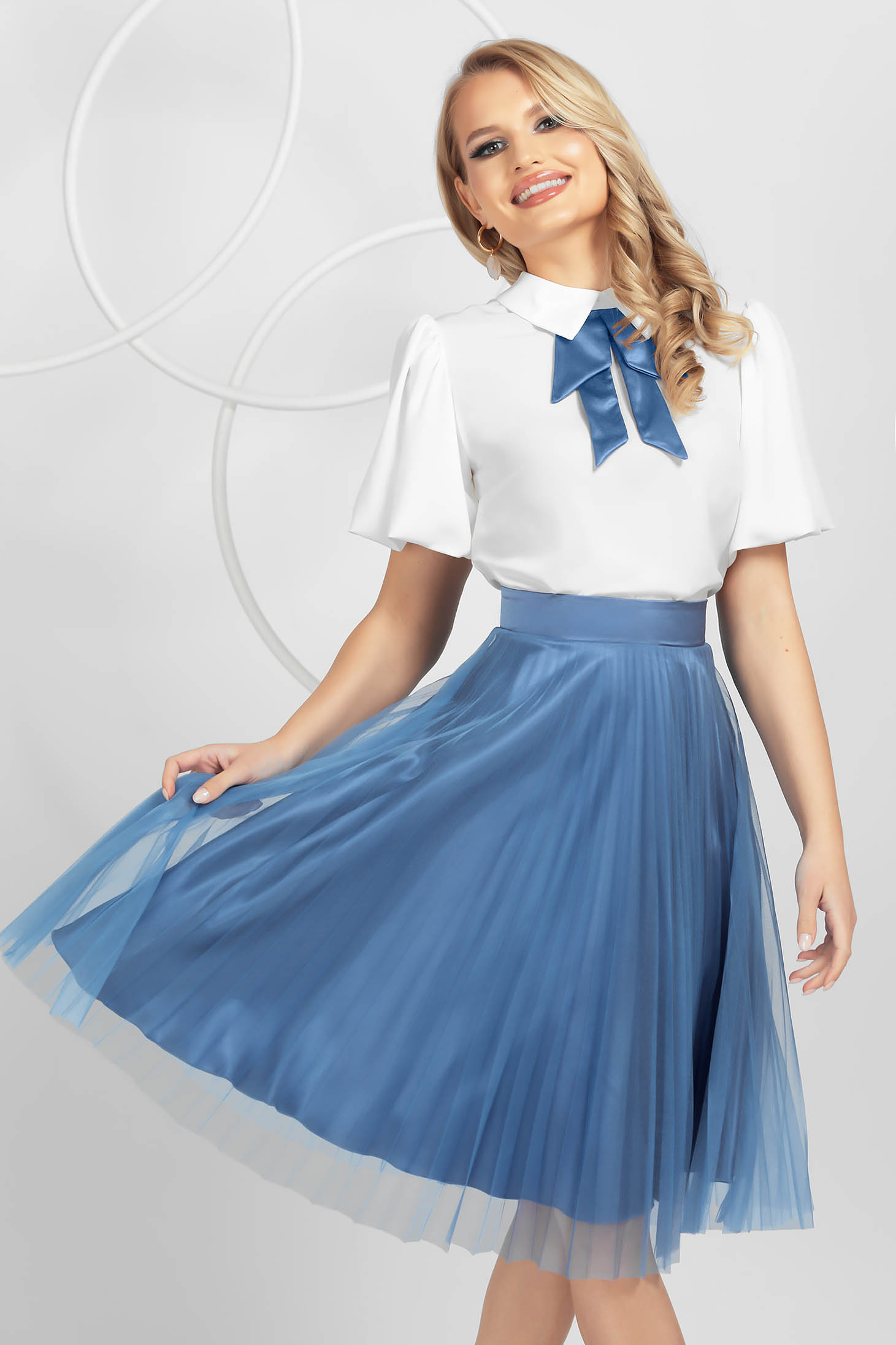Blue skirt elegant midi cloche from tulle high waisted folded up