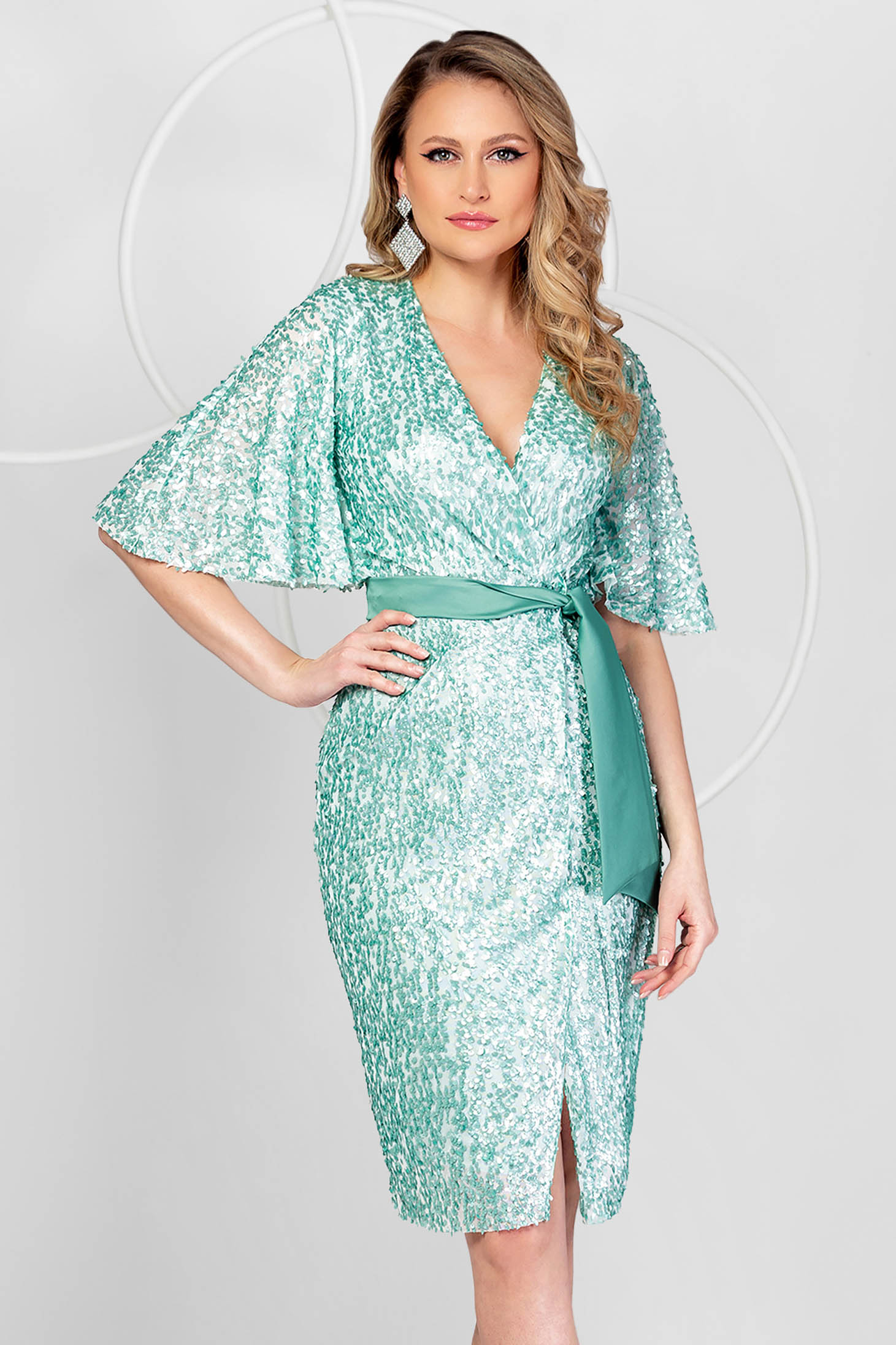 Mint dress occasional a-line with sequins with butterfly sleeves