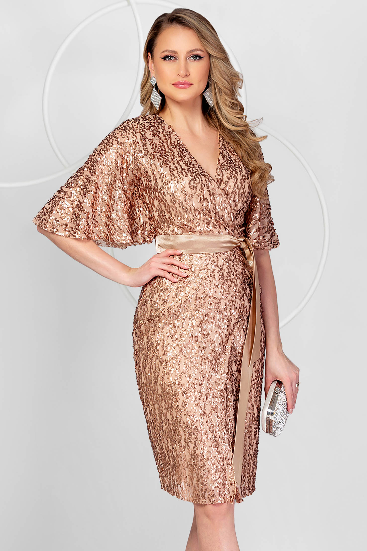 Gold dress occasional a-line with sequins with butterfly sleeves
