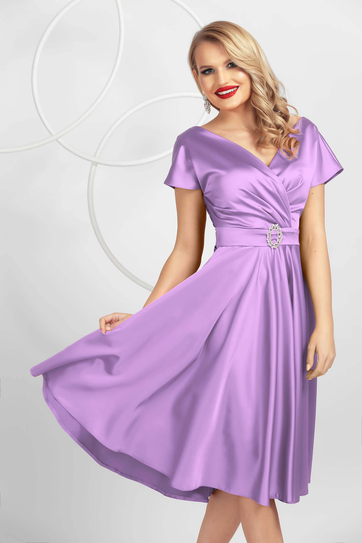 Lila cloche wrap over front dress midi elegant