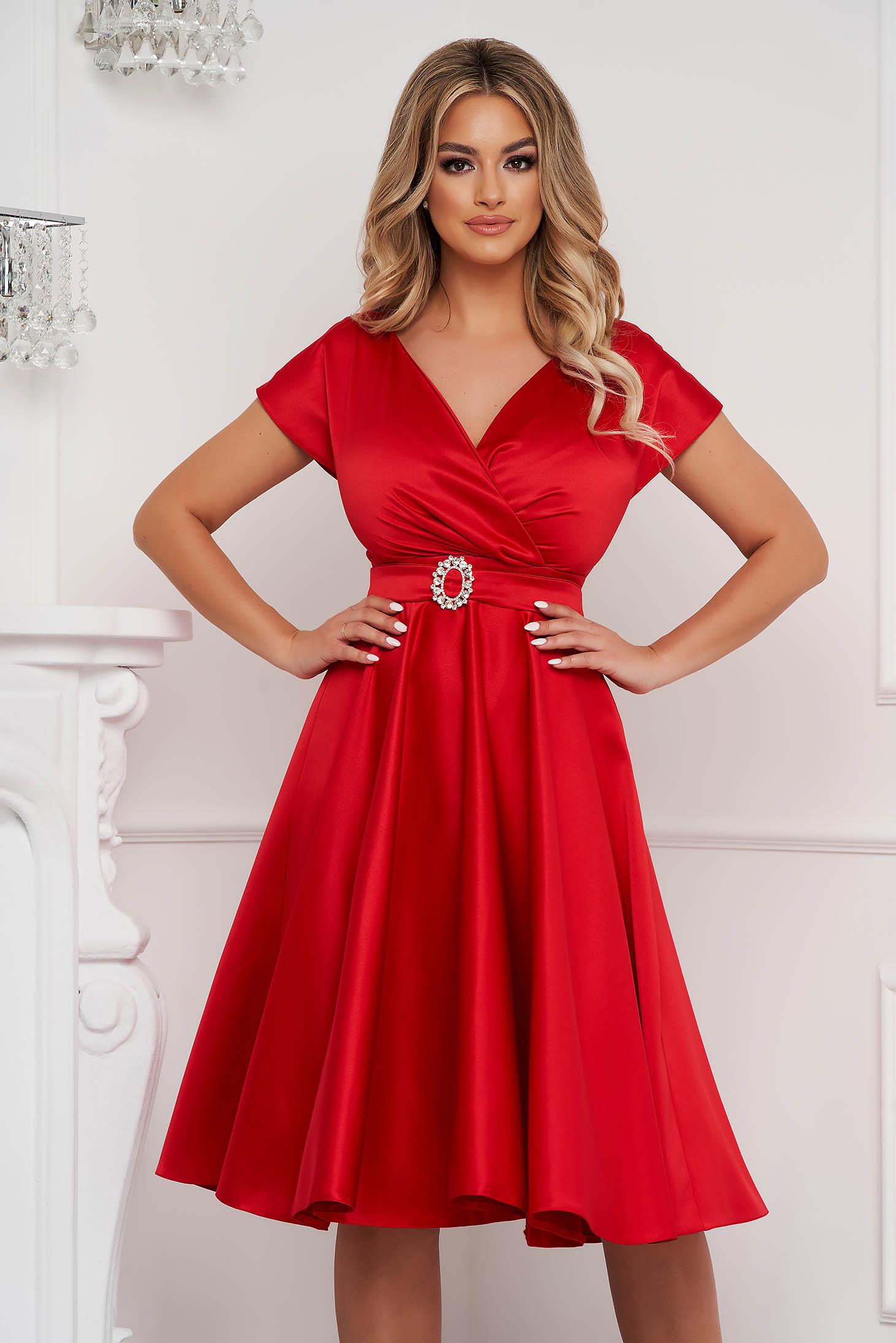 Red cloche wrap over front dress midi elegant