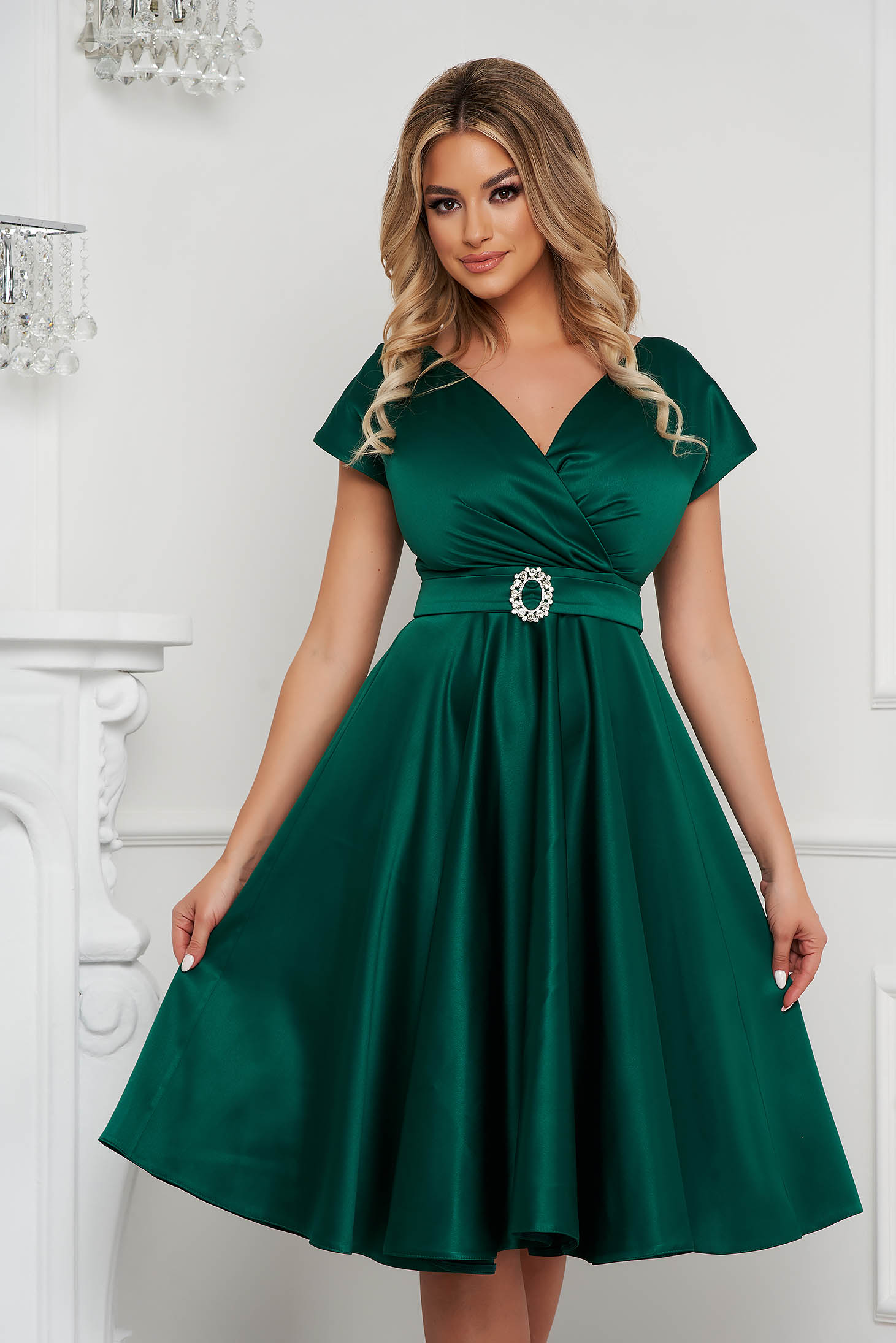 Zöld harang ruha midi elegáns