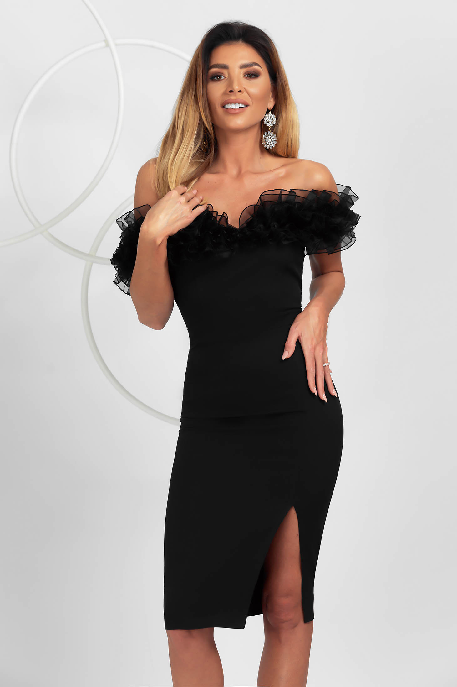 Black dress midi pencil occasional slightly elastic fabric organza with ruffled sleeves