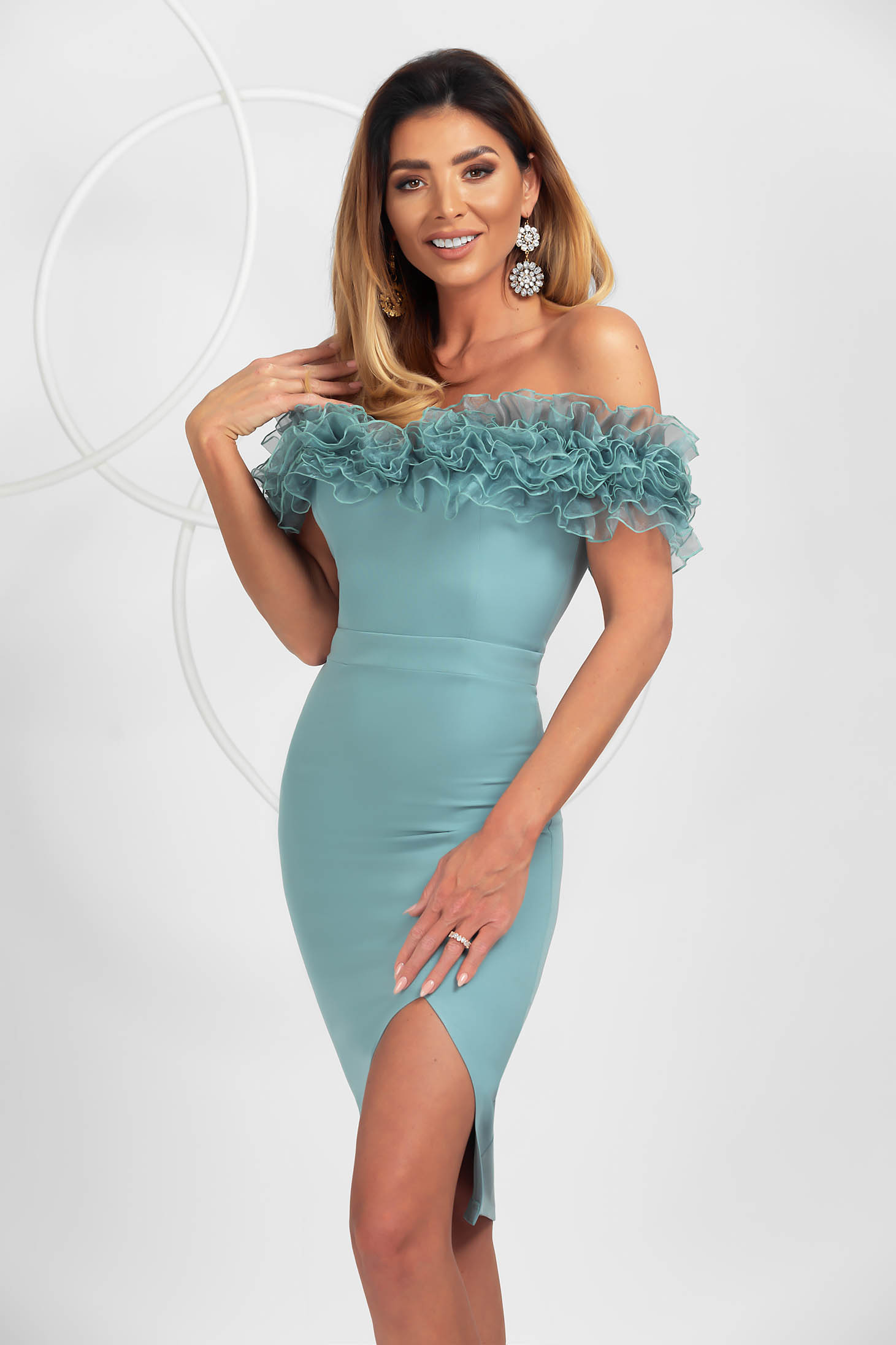 Mint dress midi pencil occasional slightly elastic fabric organza with ruffled sleeves