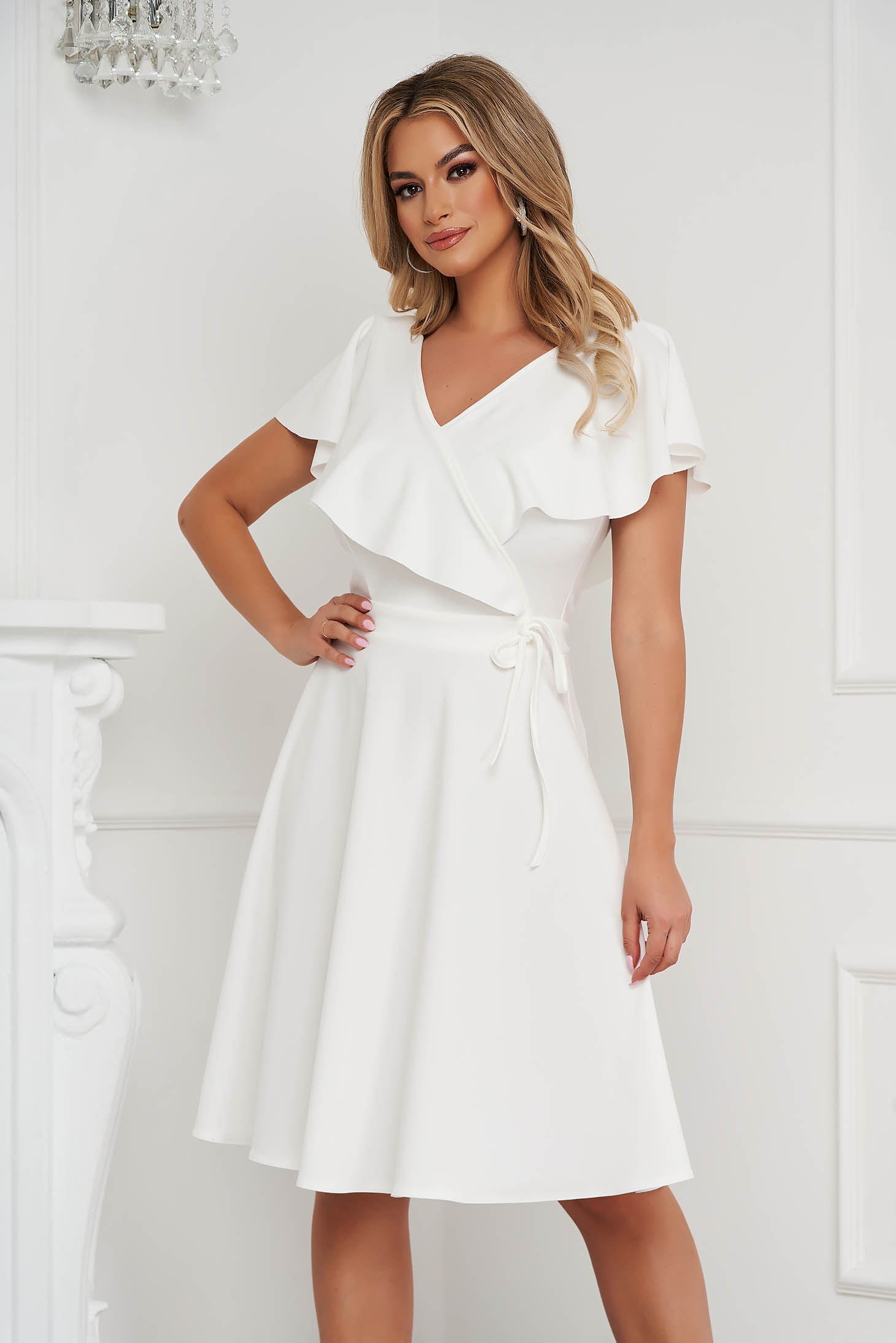 StarShinerS ivory dress short cut cloche frilly trim around cleavage line