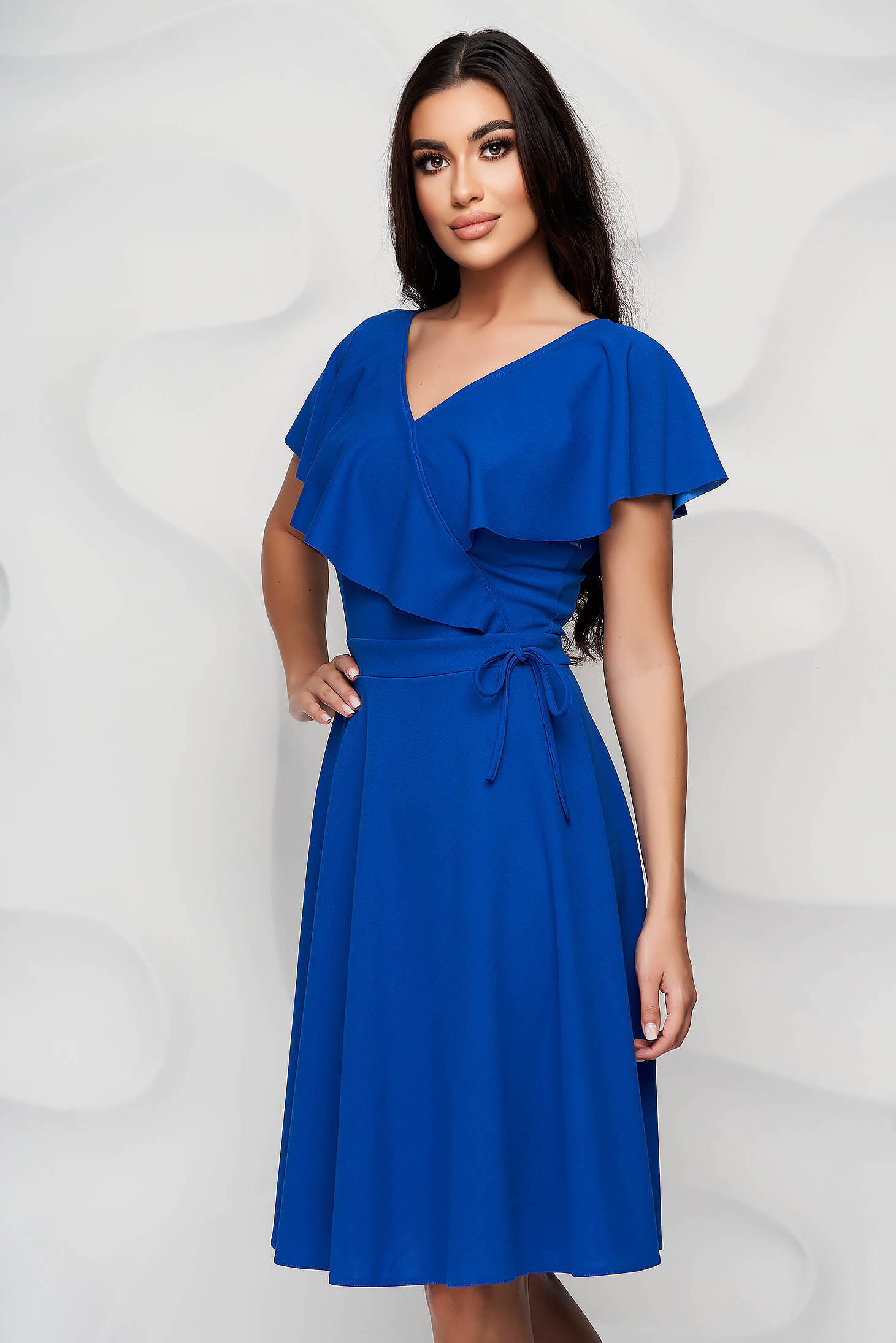 StarShinerS blue dress short cut cloche frilly trim around cleavage line