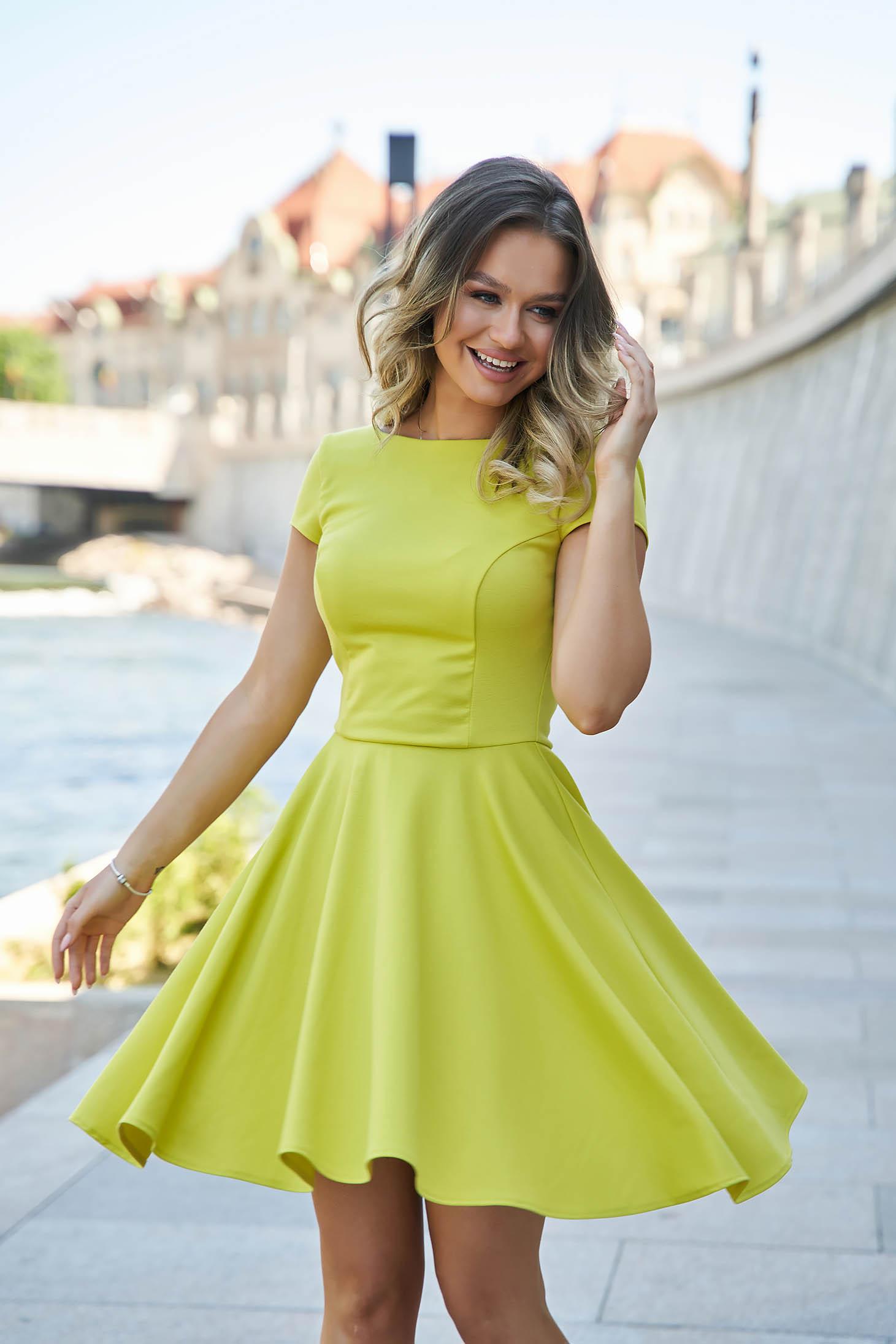 Yellow StarShinerS dress cloche slightly elastic fabric v back neckline