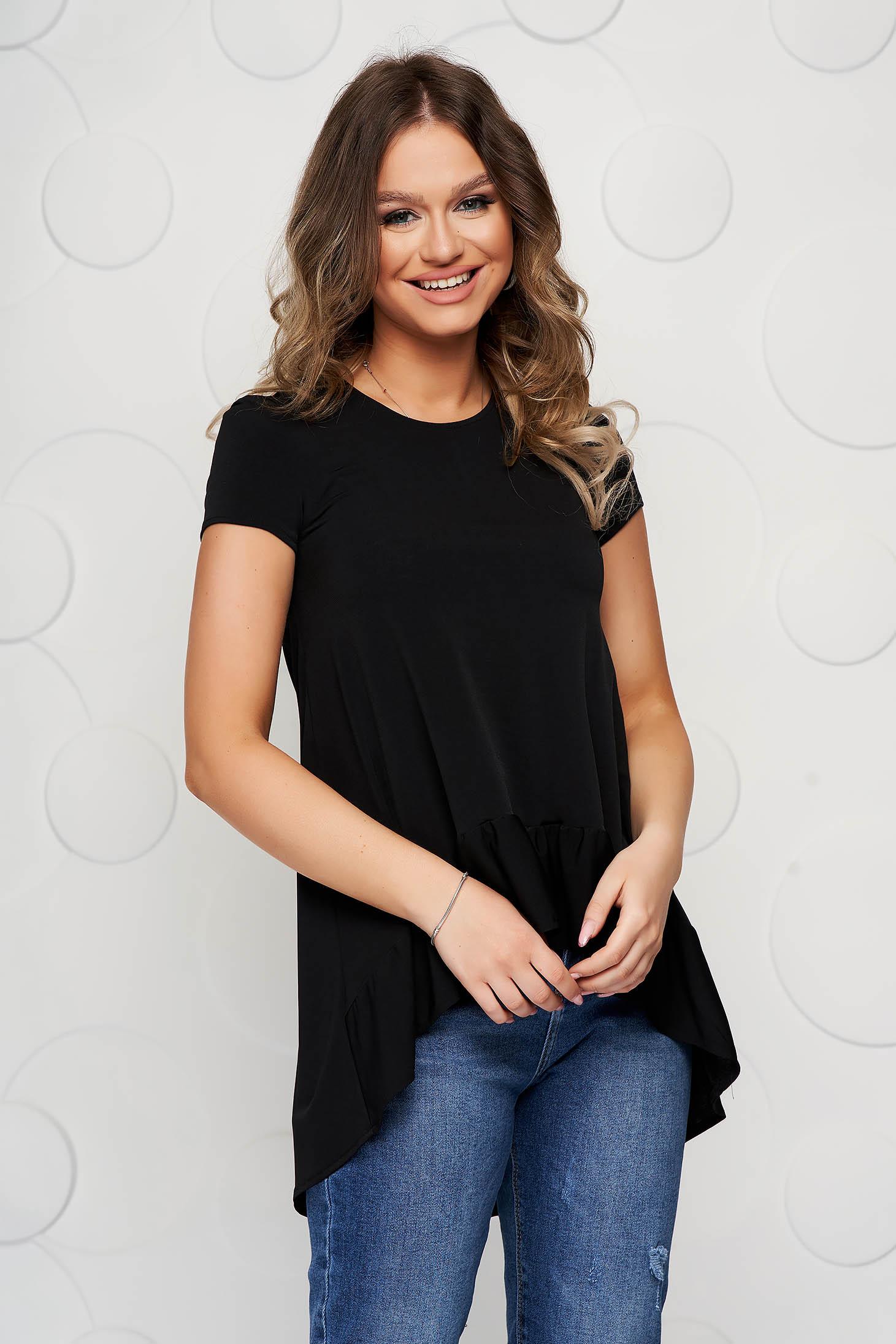 Bluza dama StarShinerS neagra asimetrica cu croi larg din material subtire cu volanase