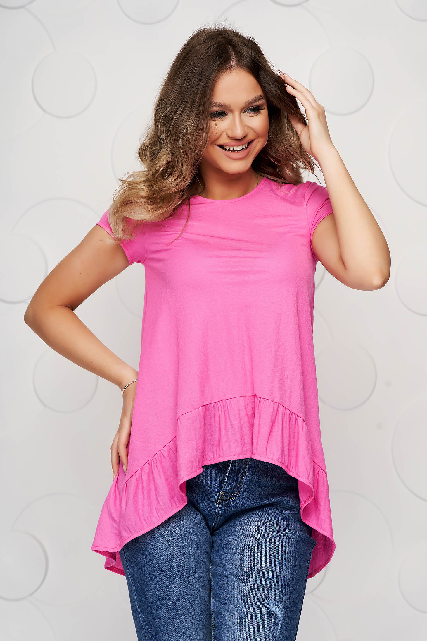 StarShinerS pink women`s blouse asymmetrical loose fit thin fabric with ruffle details