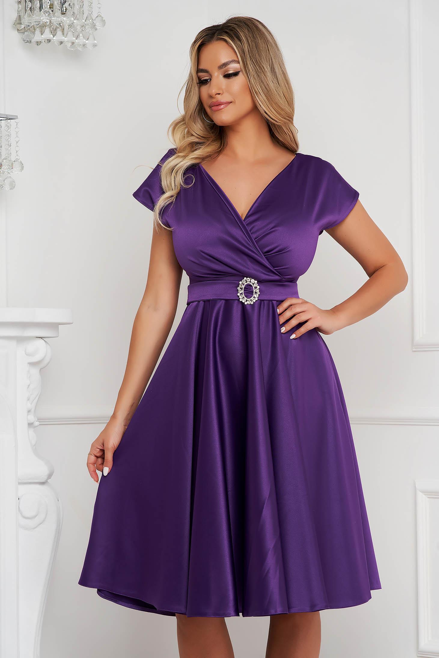 Purple cloche wrap over front dress midi elegant