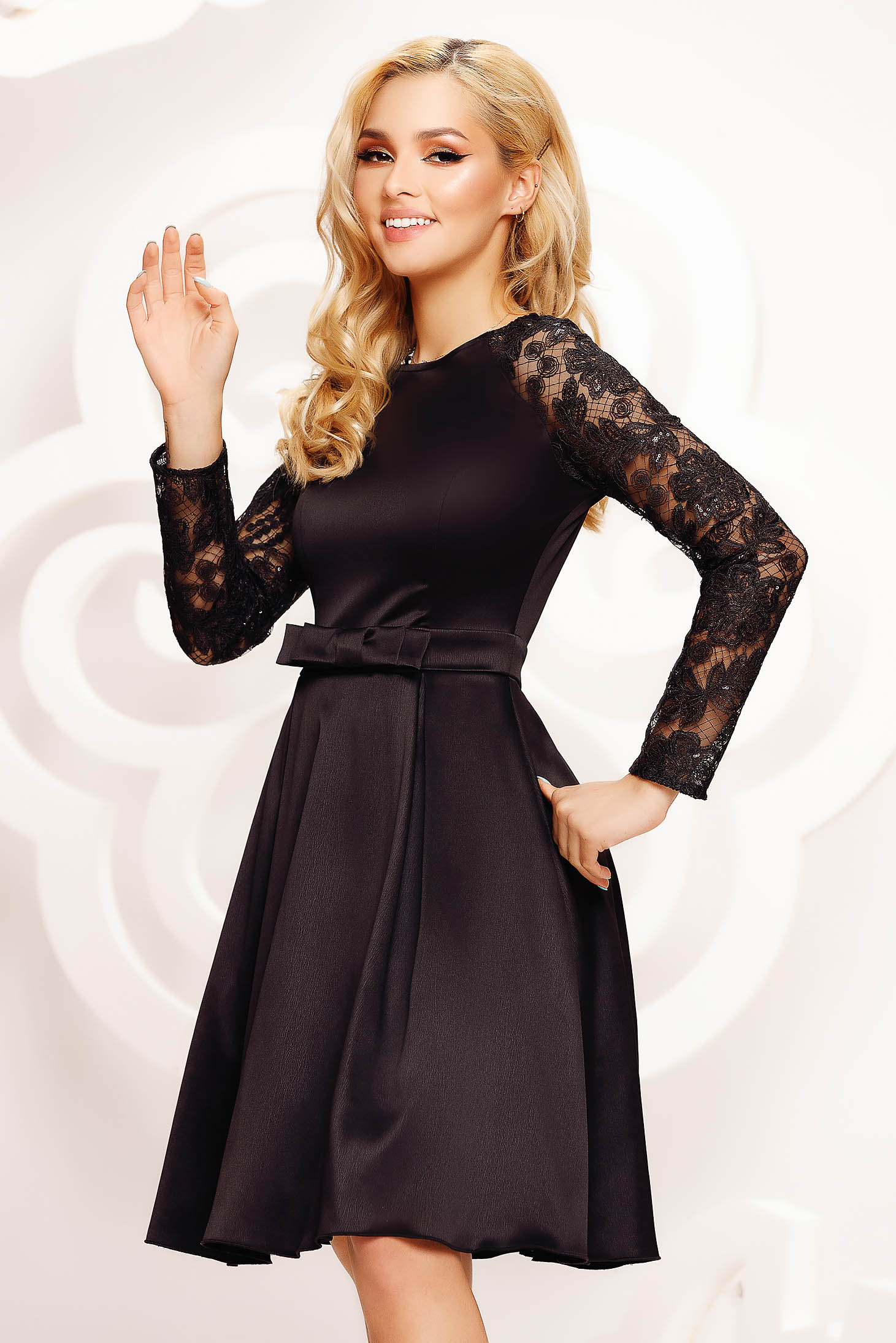 Black dress short cut cloche occasional transparent sleeves