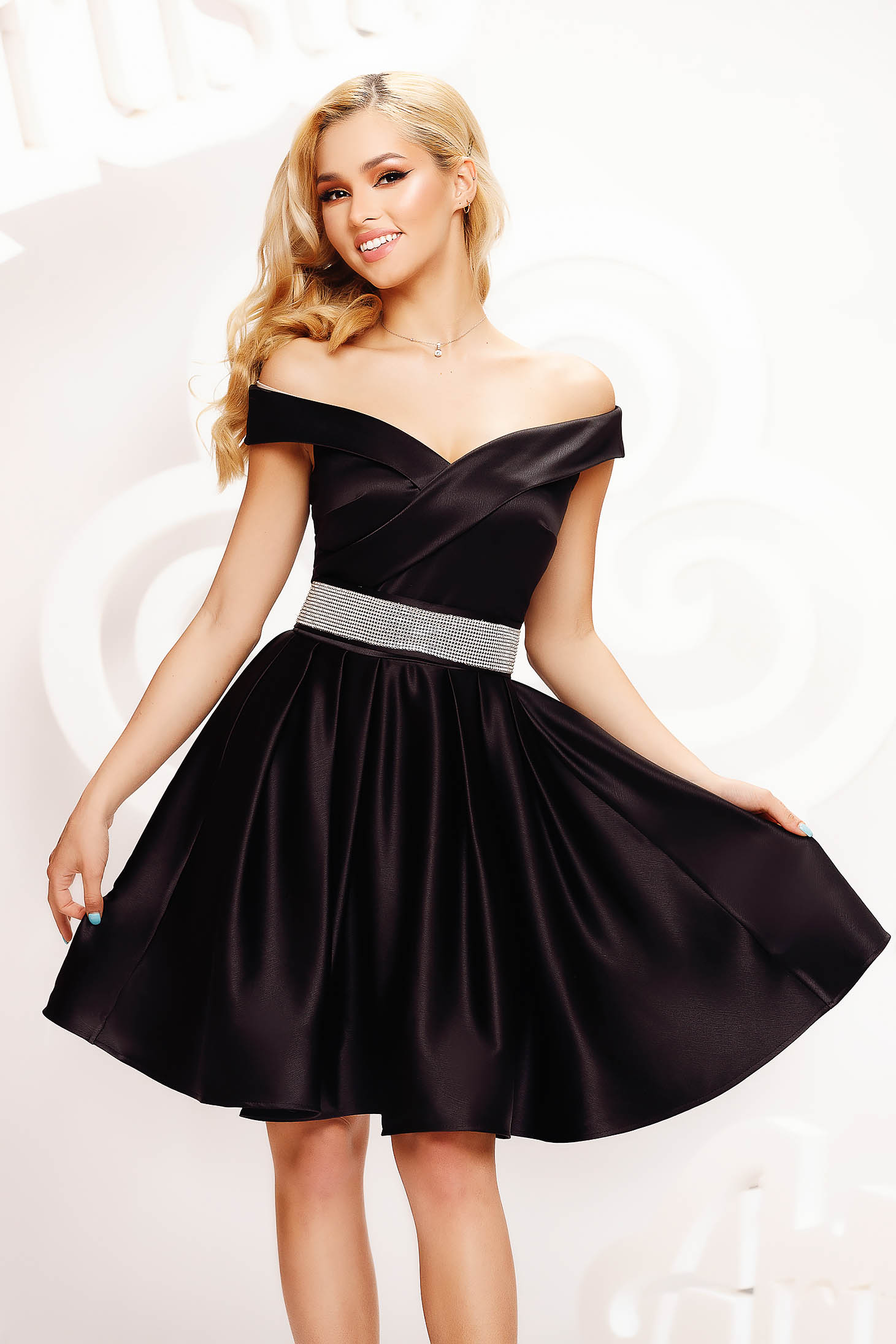 Black dress from satin cloche occasional accessorized with a waistband on the shoulders