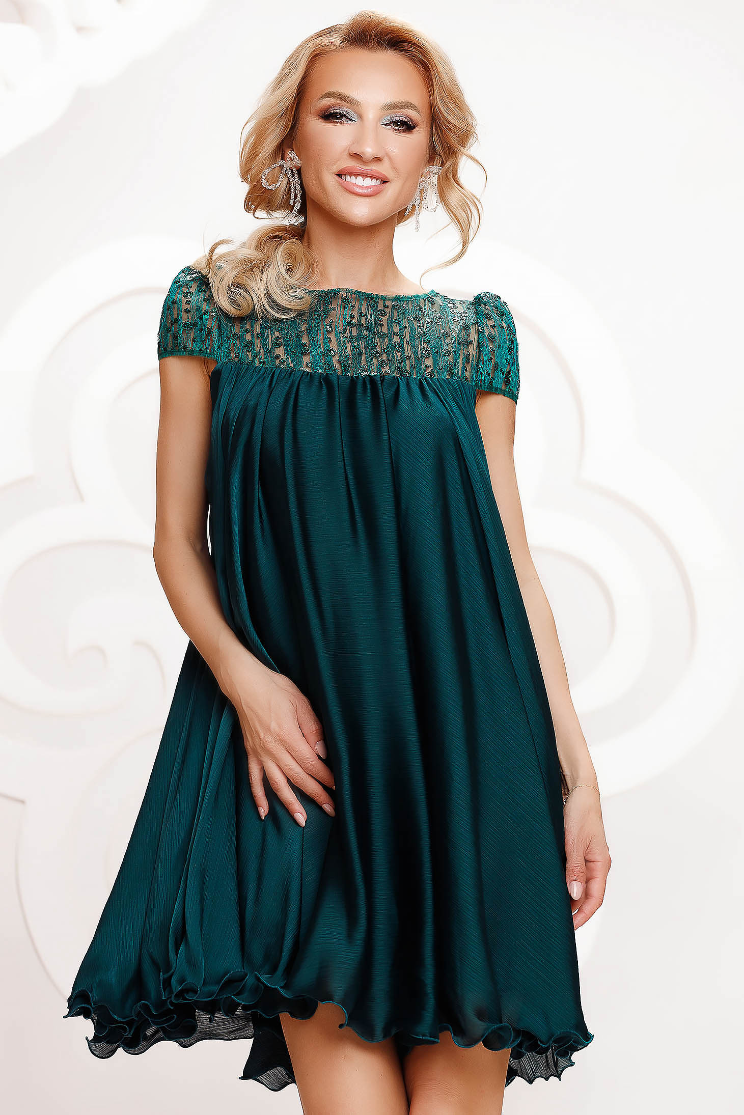 Dirty green dress from veil fabric occasional with lace details with crystal embellished details loose fit