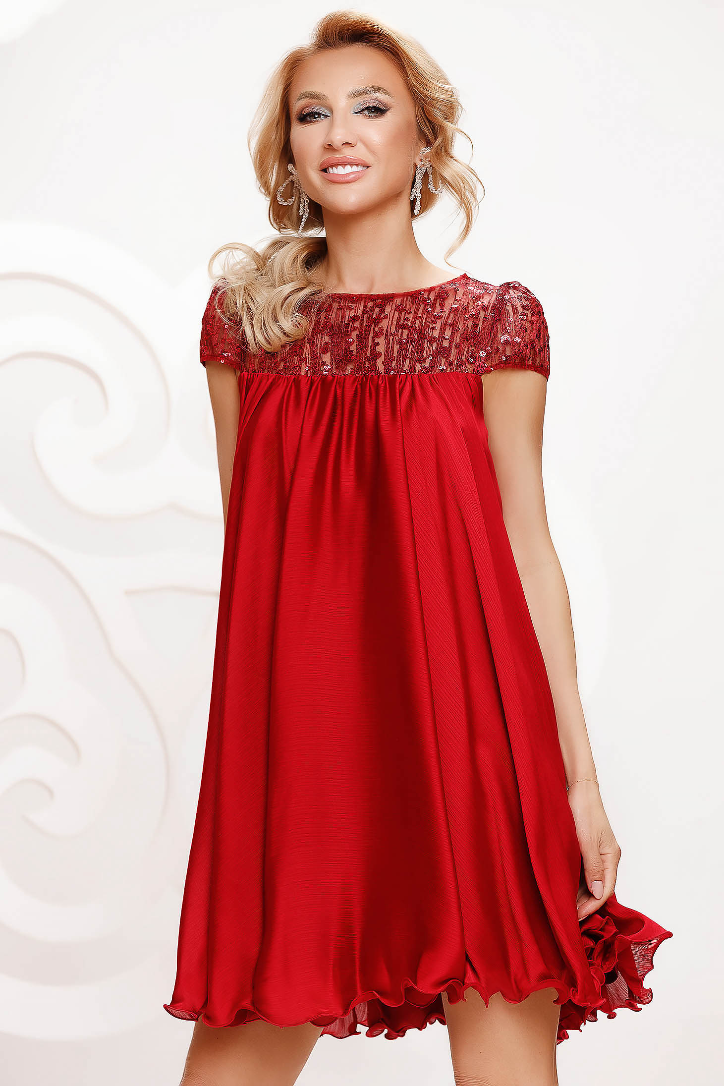 Burgundy dress from veil fabric occasional with lace details with crystal embellished details loose fit