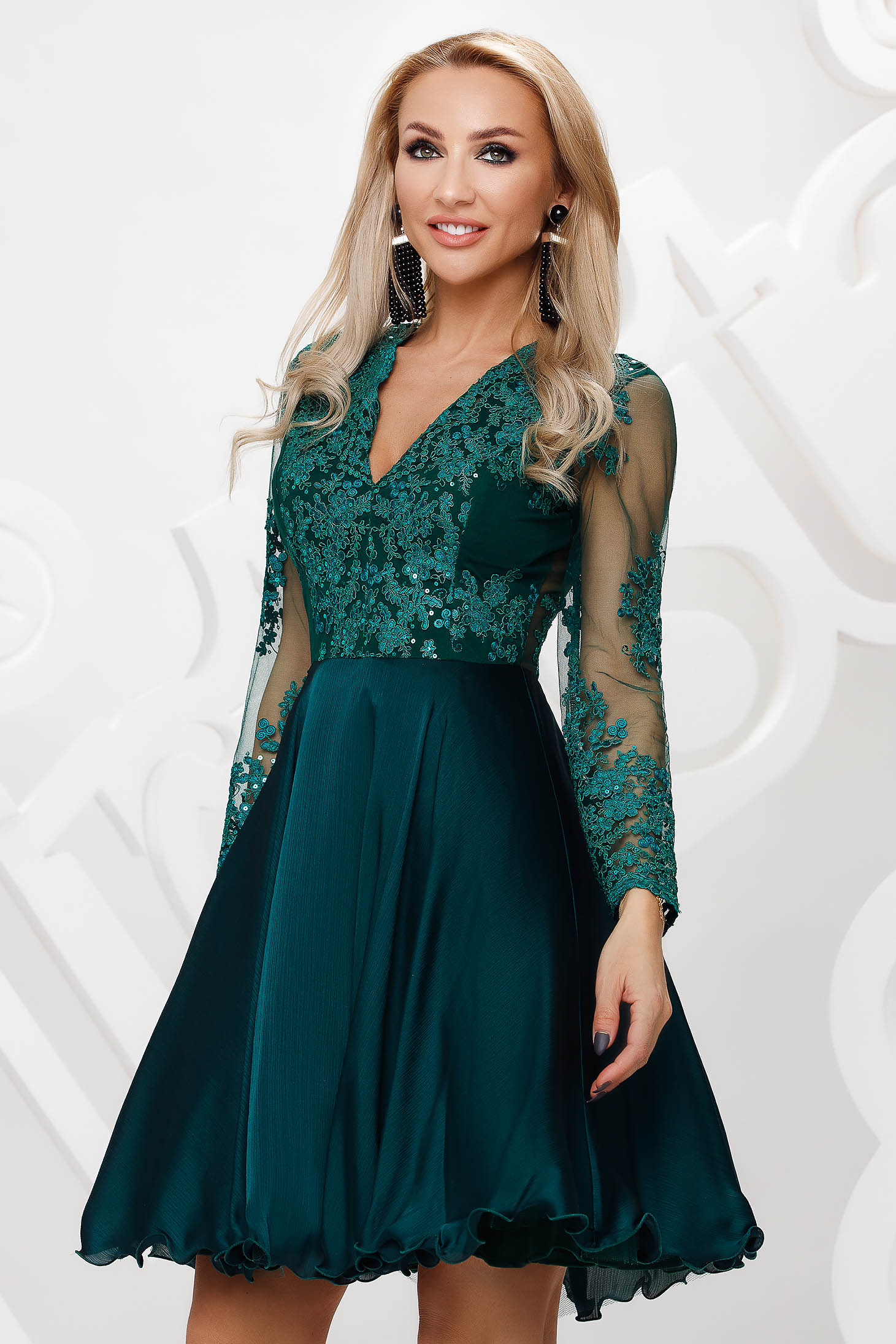 Darkgreen dress from tulle cloche occasional lace and sequins details