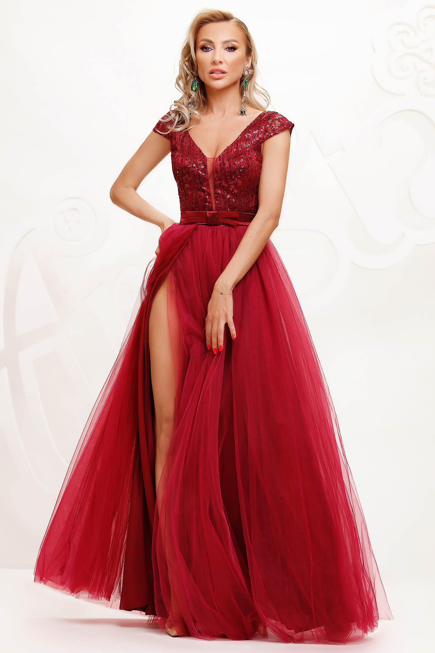 Burgundy dress from tulle cloche occasional slit with sequin embellished details