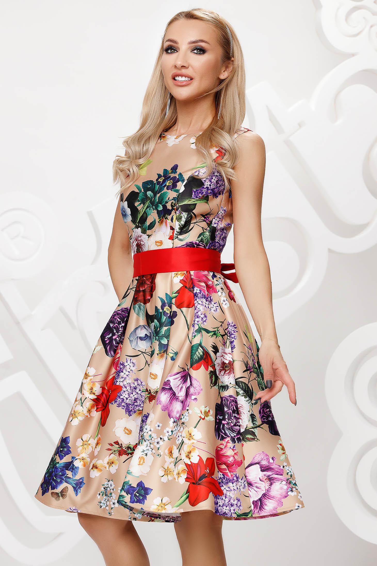 Rochie Artista cu imprimeu floral midi de ocazie in clos din satin