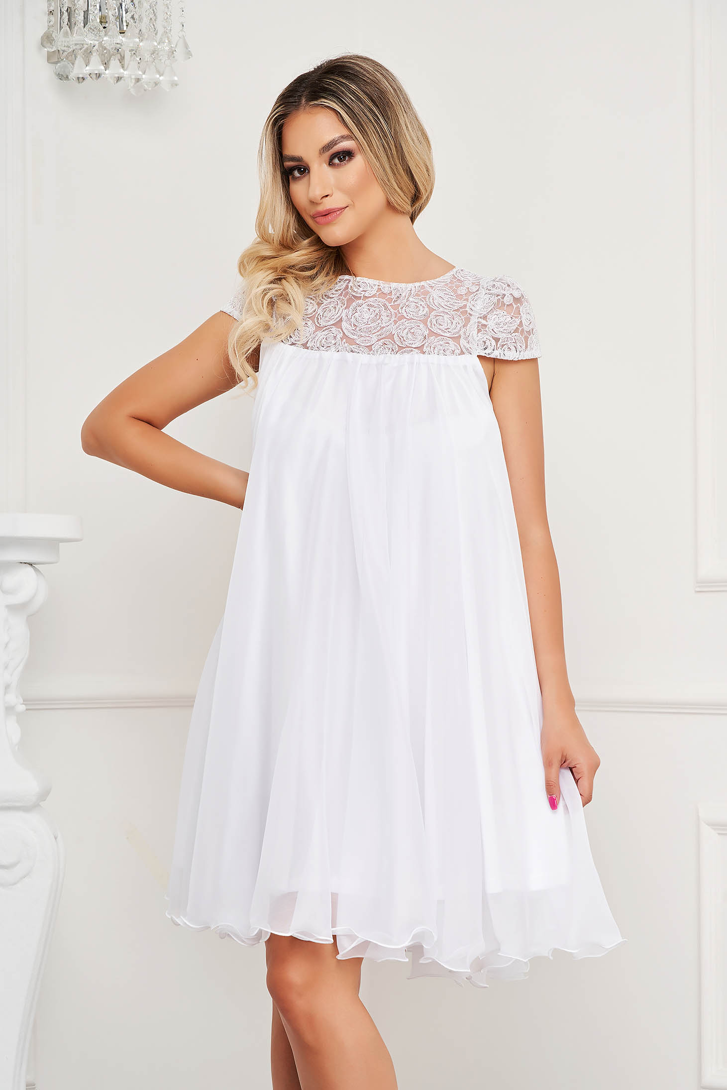 White dress from veil fabric occasional with lace details with crystal embellished details loose fit