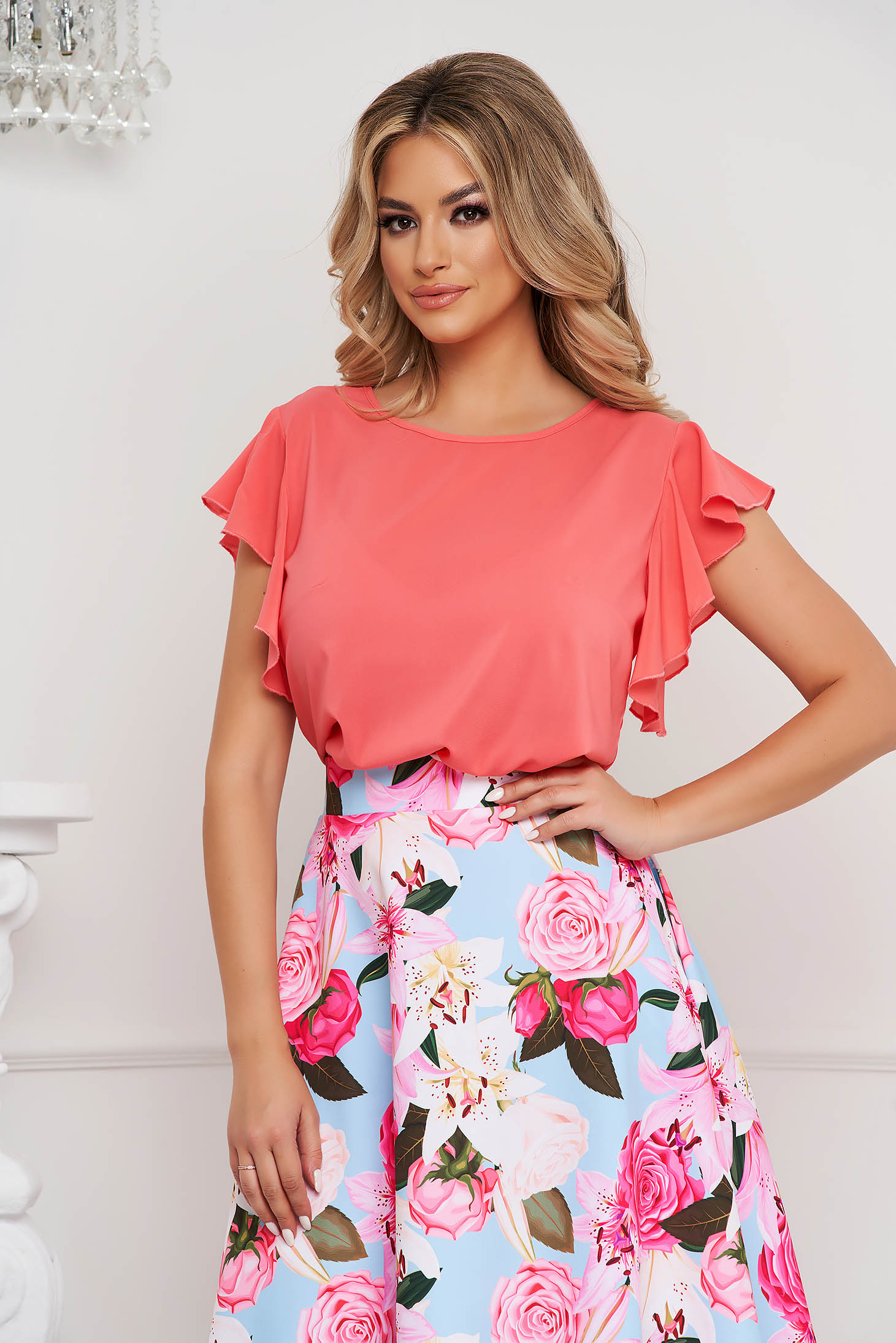 StarShinerS coral women`s blouse elegant with ruffle details loose fit with rounded cleavage