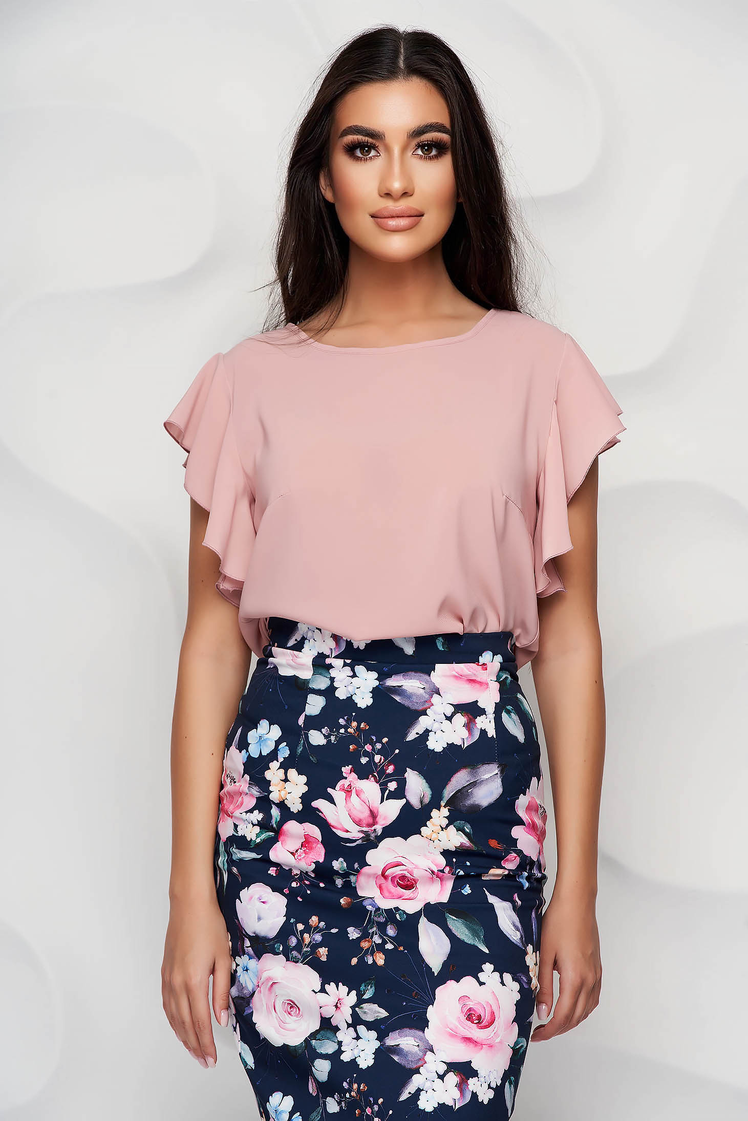 StarShinerS lightpink women`s blouse elegant from veil fabric with ruffle details loose fit