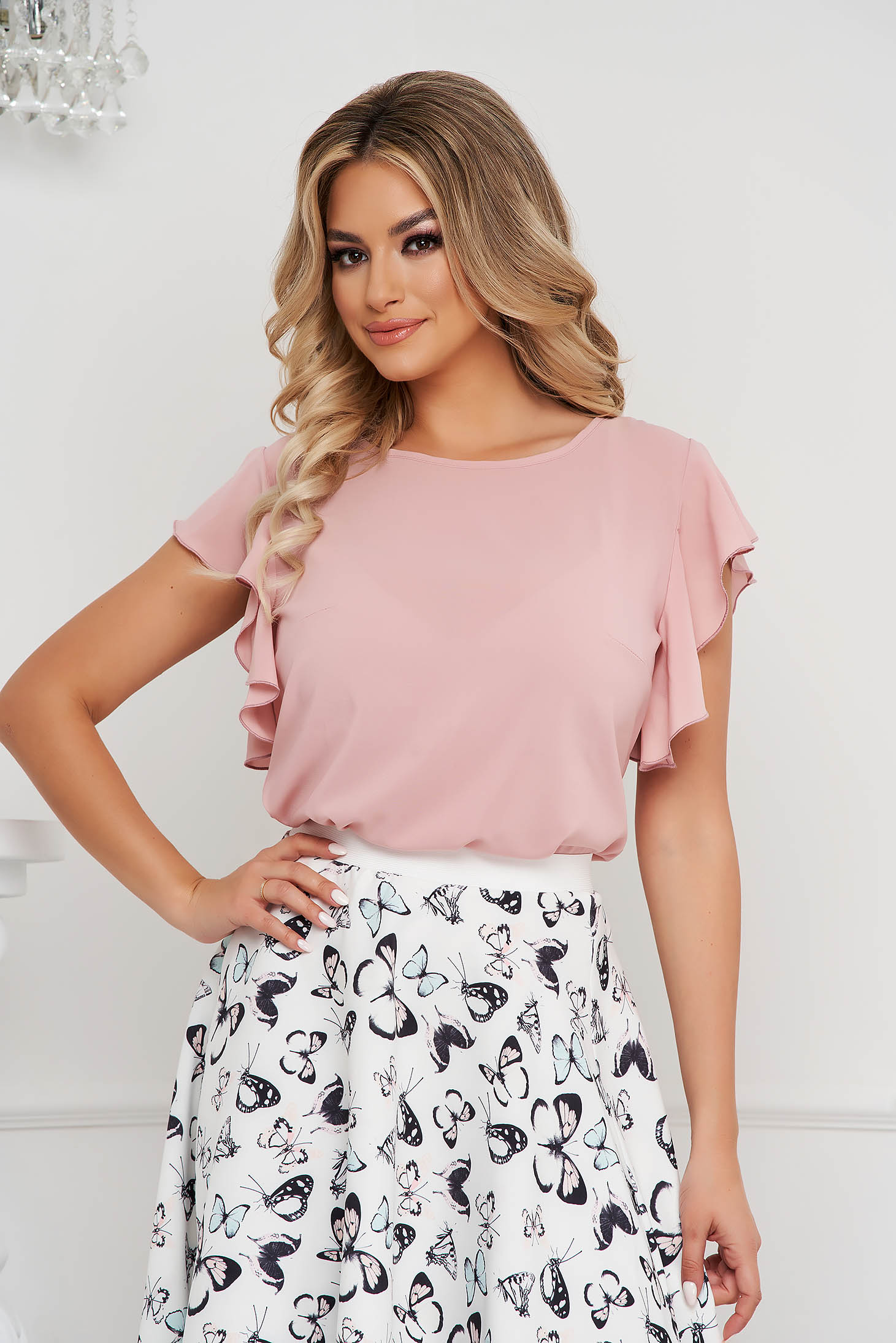 StarShinerS lightpink women`s blouse elegant with ruffle details loose fit with rounded cleavage