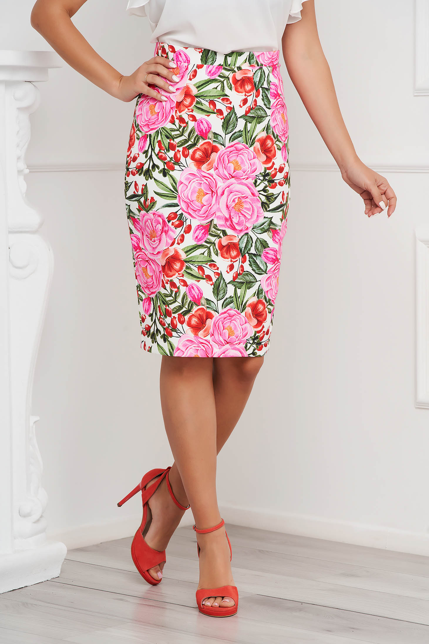 StarShinerS skirt office midi pencil from elastic fabric with floral print