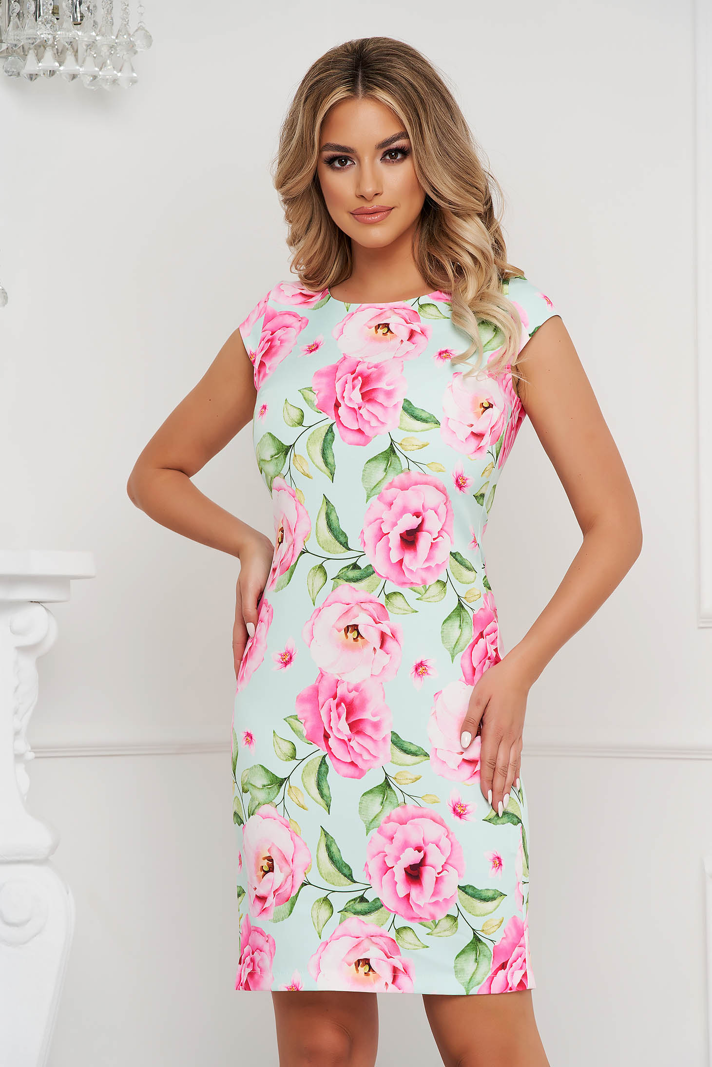 StarShinerS dress office short cut straight thin fabric with floral print