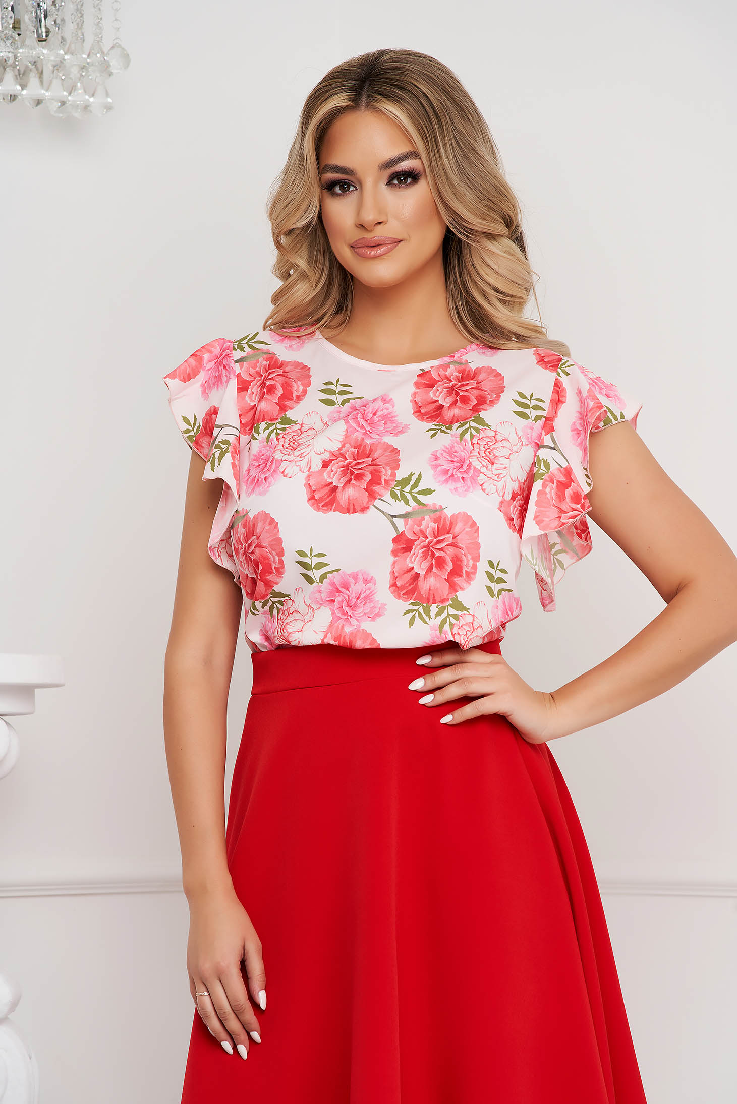 StarShinerS women`s blouse office loose fit with ruffle details with floral print