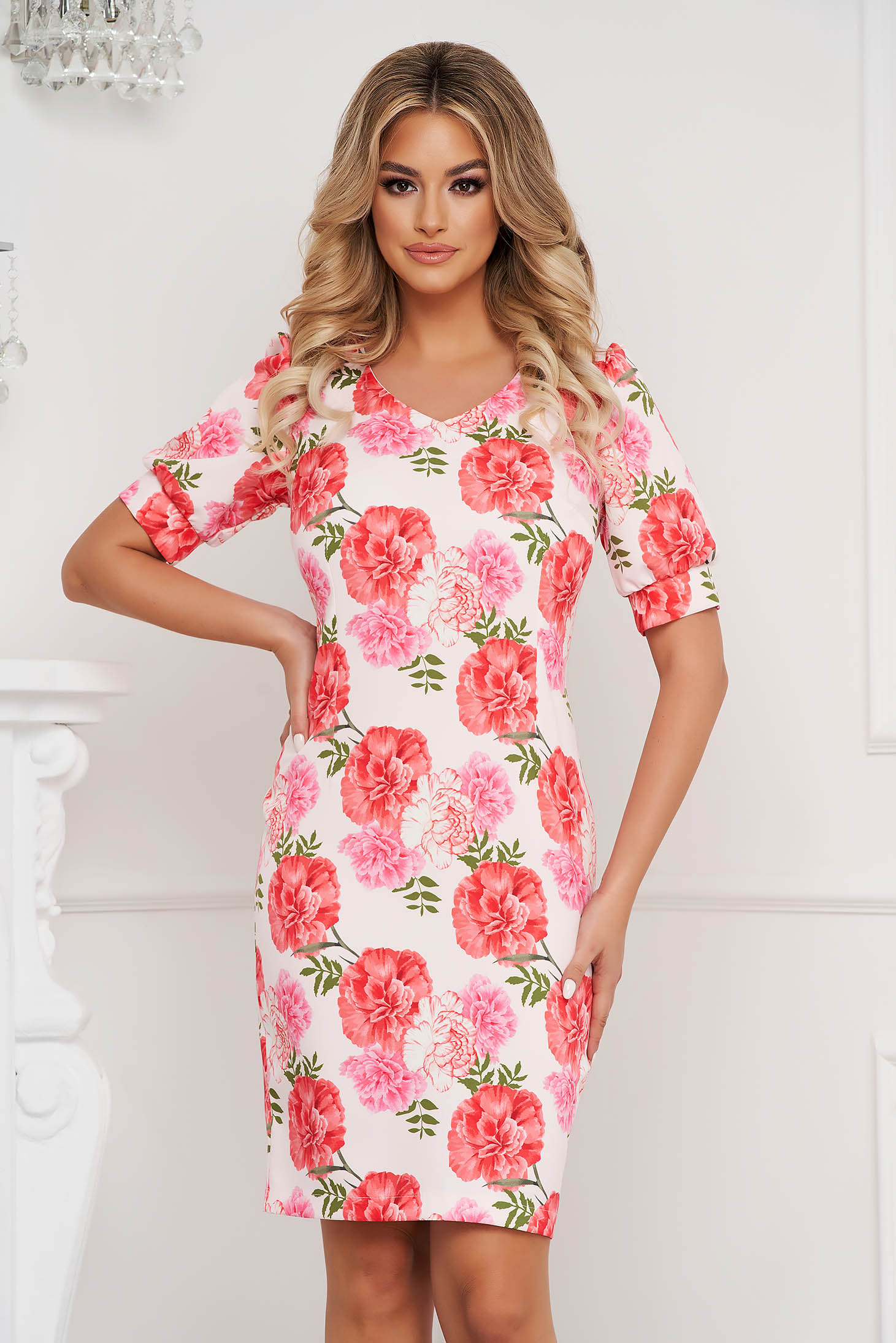 StarShinerS dress short cut pencil with floral print non-flexible thin fabric office