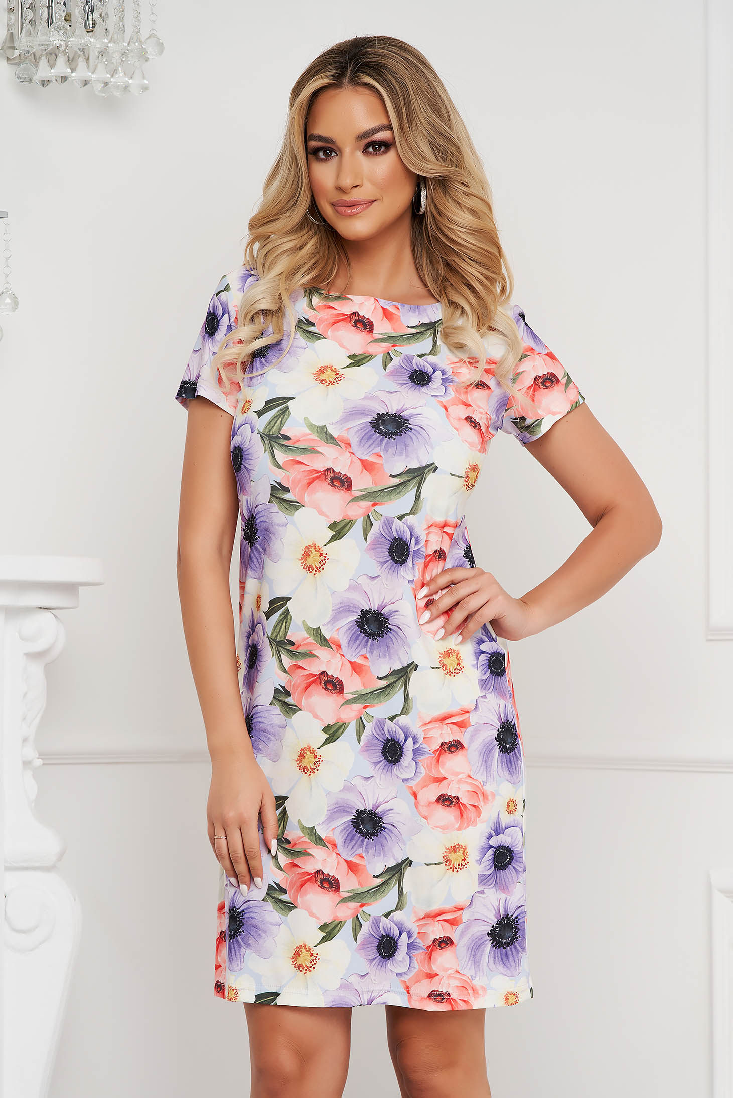 StarShinerS dress office short cut thin fabric with floral print straight