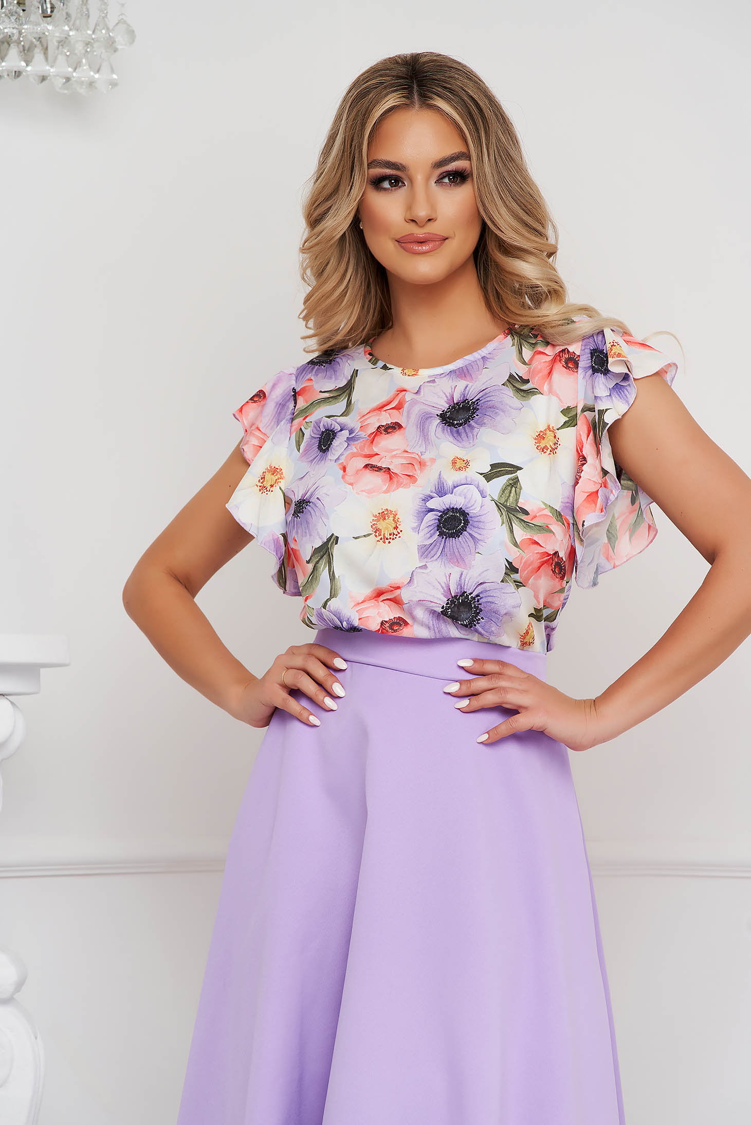 Bluza dama StarShinerS office cu croi larg cu volanase la maneca si imprimeu floral unic
