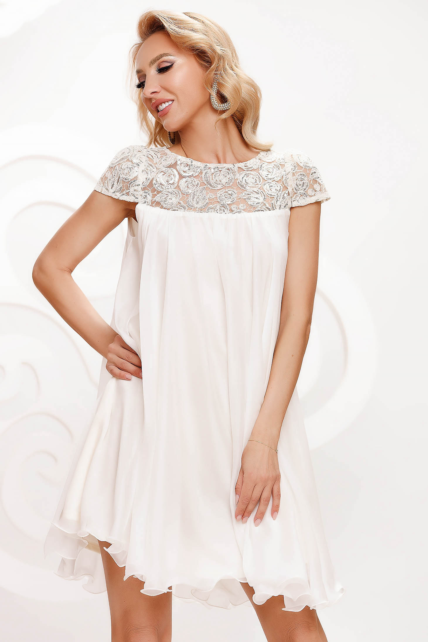 Ivory dress from veil fabric occasional with lace details with crystal embellished details loose fit