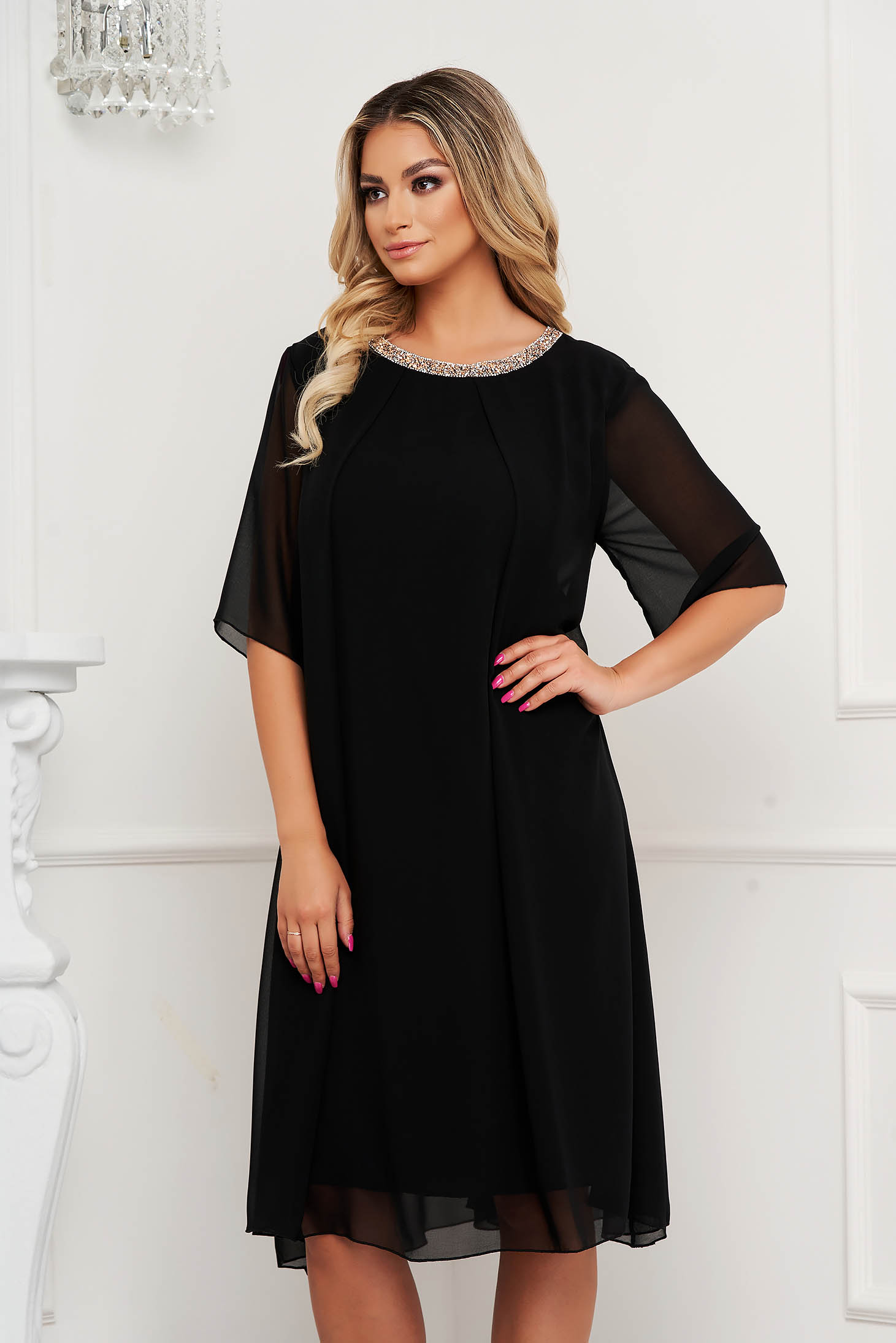 From veil fabric midi loose fit with crystal embellished details black dress