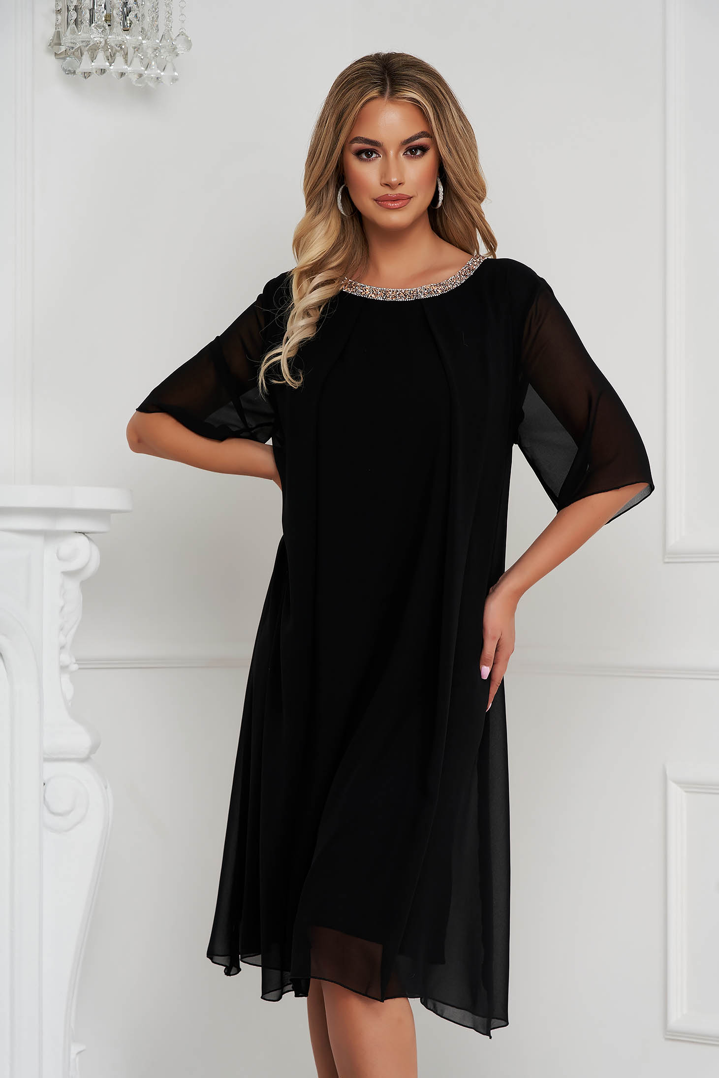 From veil fabric midi loose fit with crystal embellished details black dress occasional