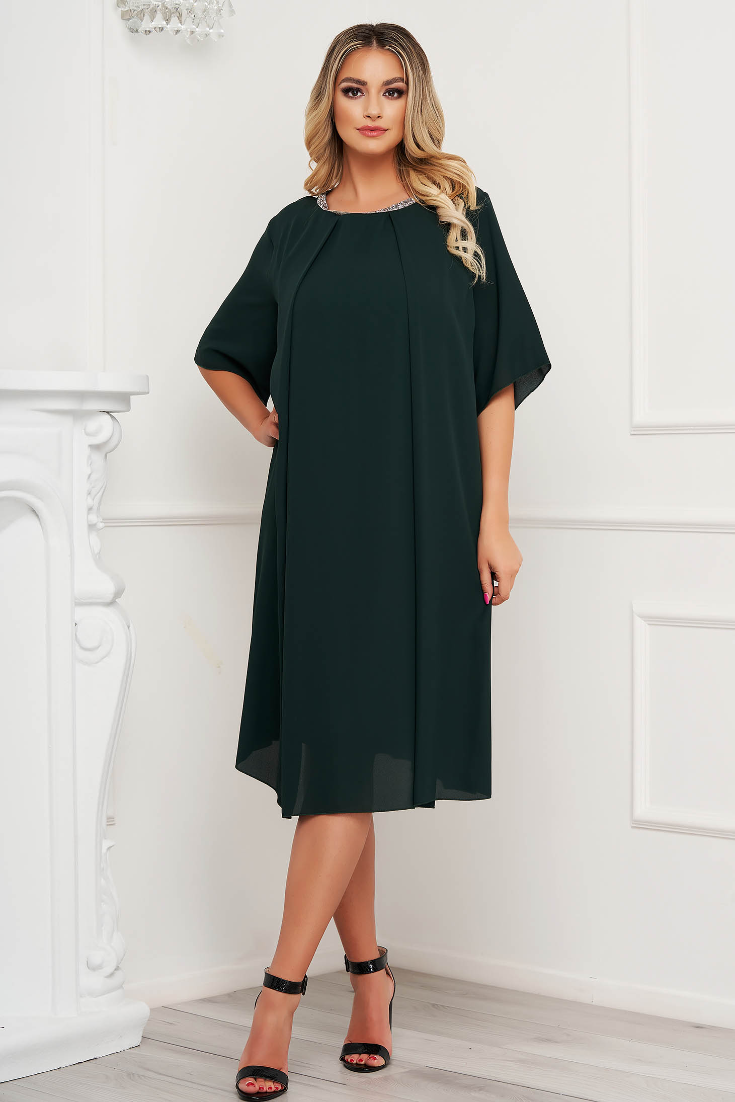 From veil fabric midi loose fit with crystal embellished details darkgreen dress occasional