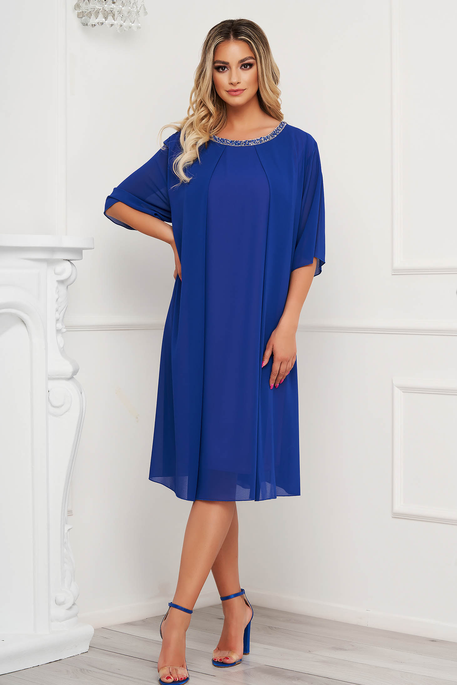 From veil fabric midi loose fit with crystal embellished details blue dress occasional