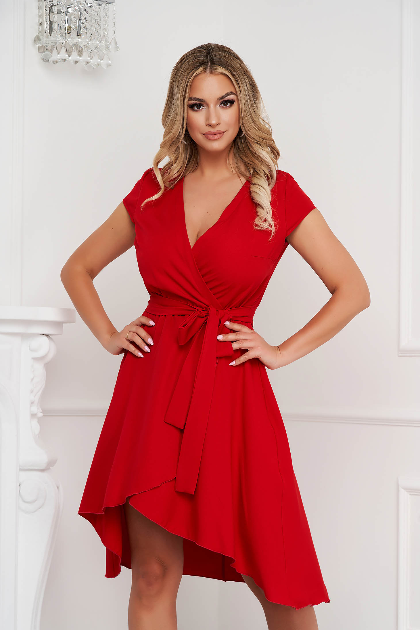 StarShinerS red dress asymmetrical slightly elastic fabric with deep cleavage