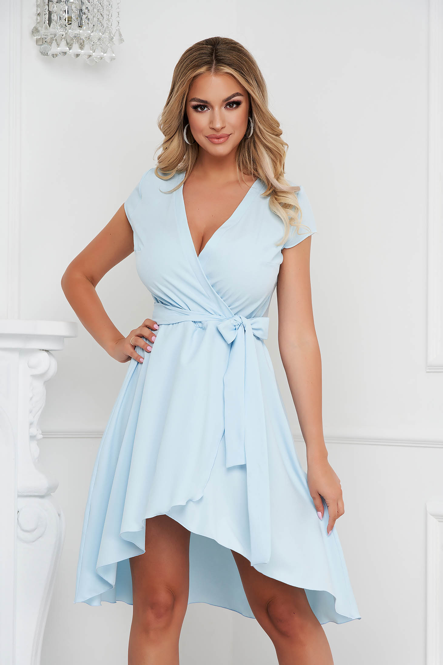 StarShinerS lightblue dress asymmetrical slightly elastic fabric with deep cleavage