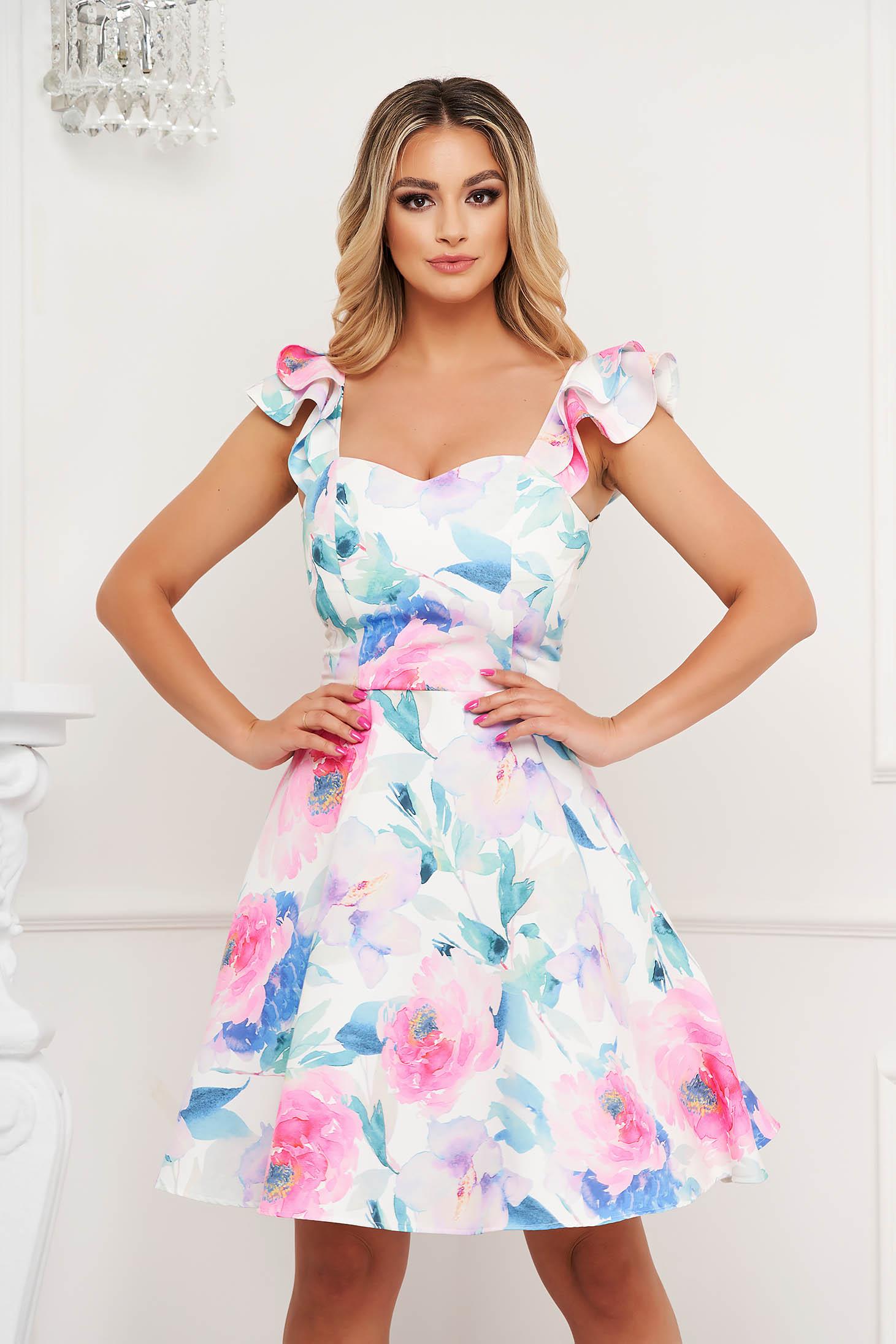 StarShinerS dress elegant short cut cloche cloth thin fabric with ruffle details