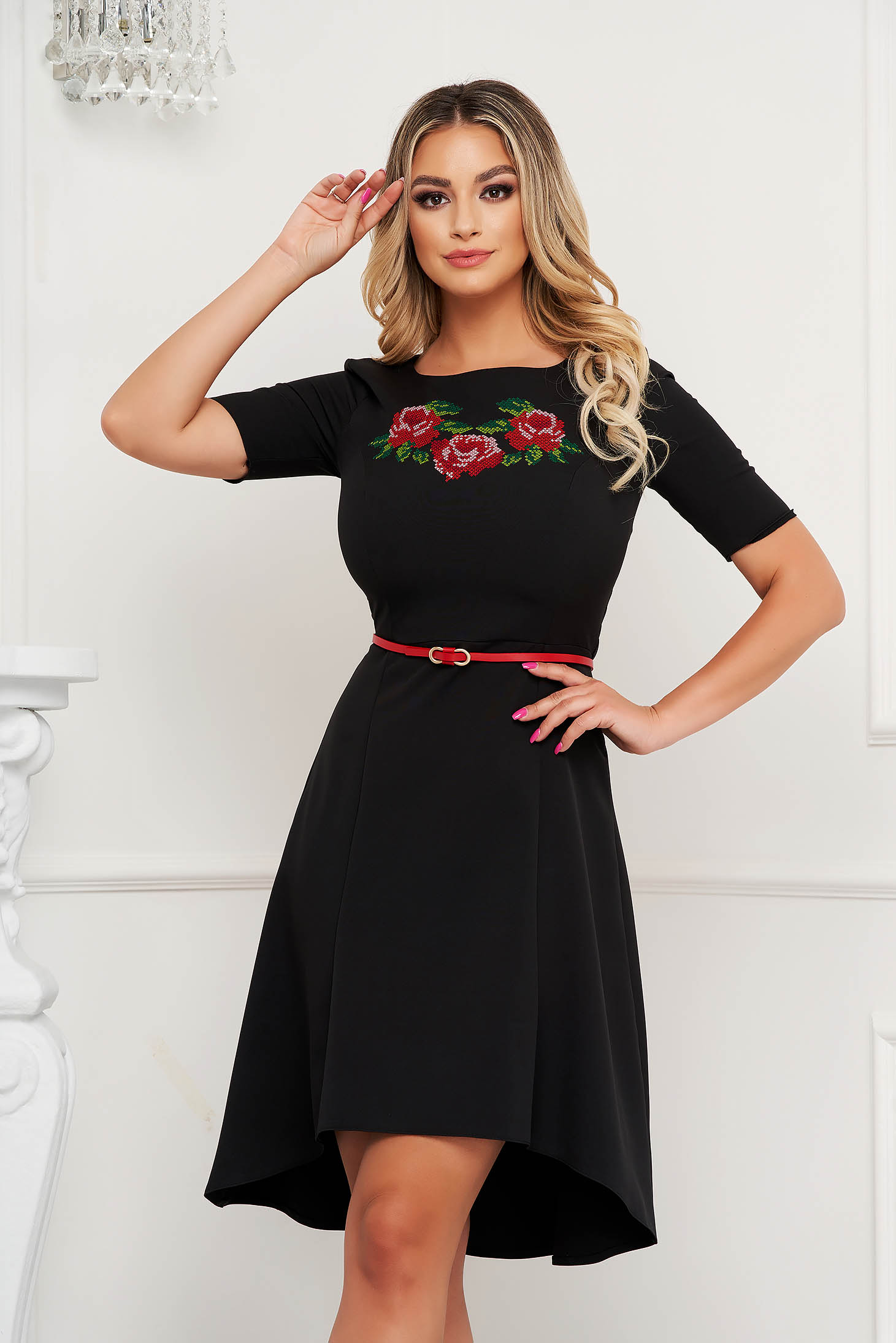 StarShinerS black dress embroidered occasional cloche cloth thin fabric