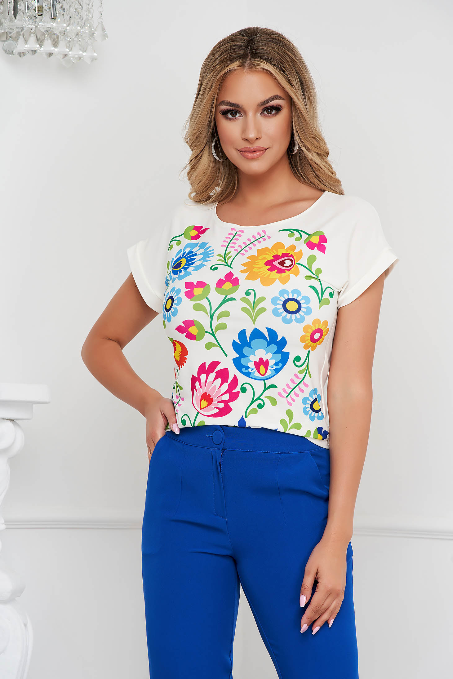 StarShinerS women`s blouse with floral print elegant airy fabric