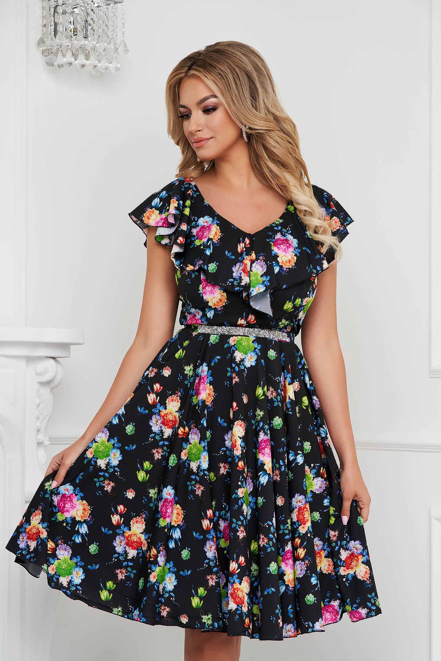 StarShinerS dress cloche occasional midi soft fabric with ruffle details detachable cord