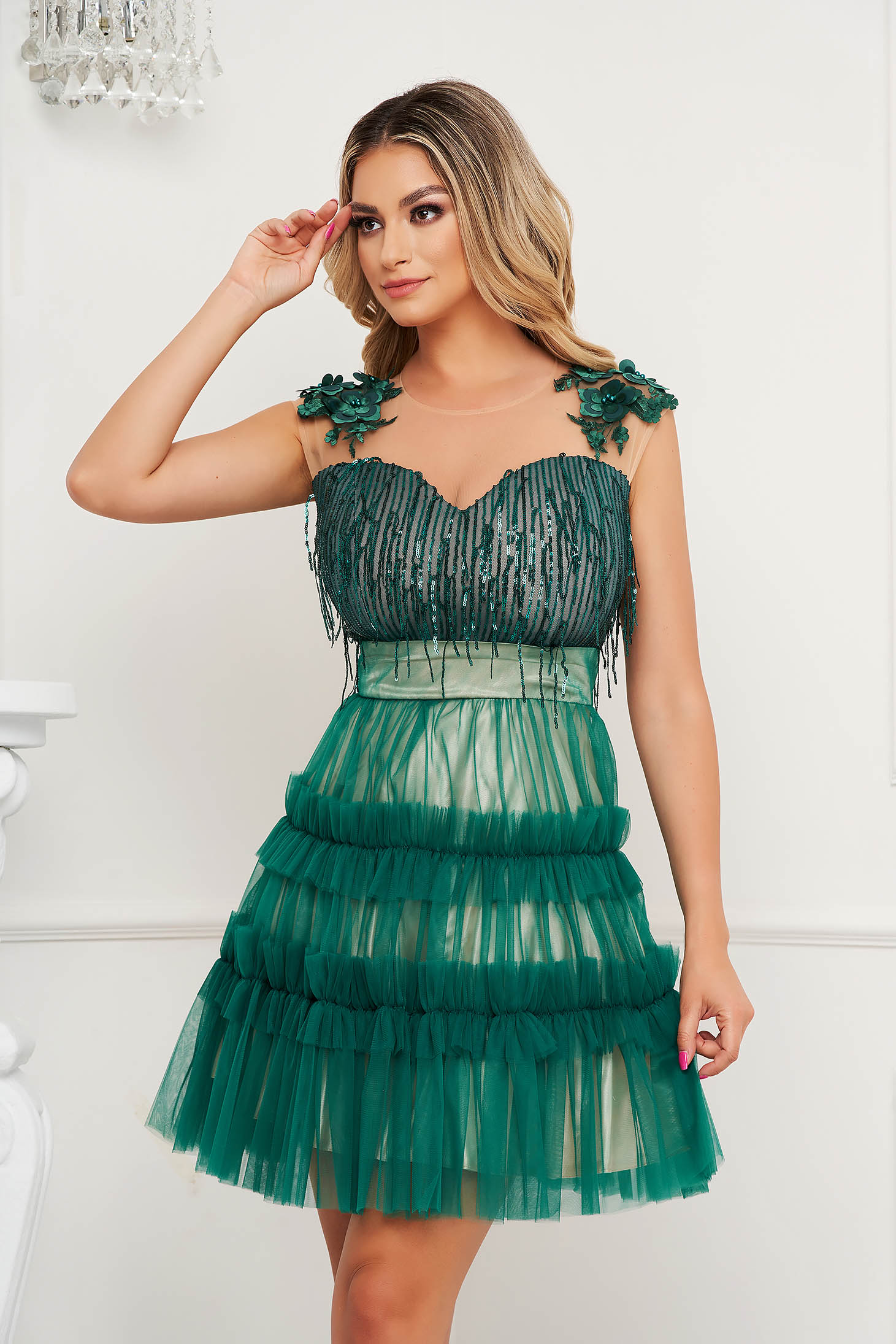 Green dress a-line occasional with sequin embellished details