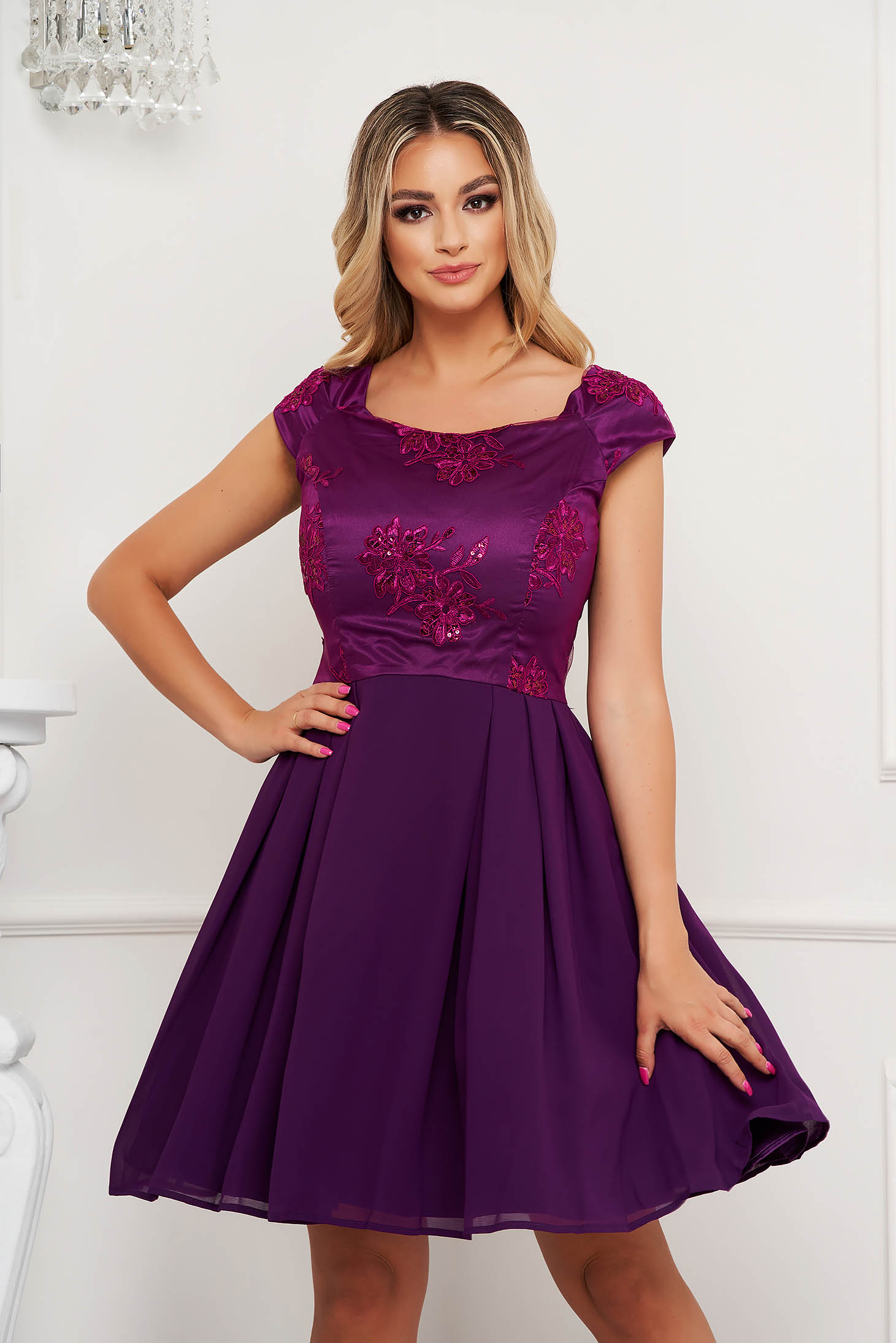 Purple dress cloche with lace details from satin fabric texture occasional short cut
