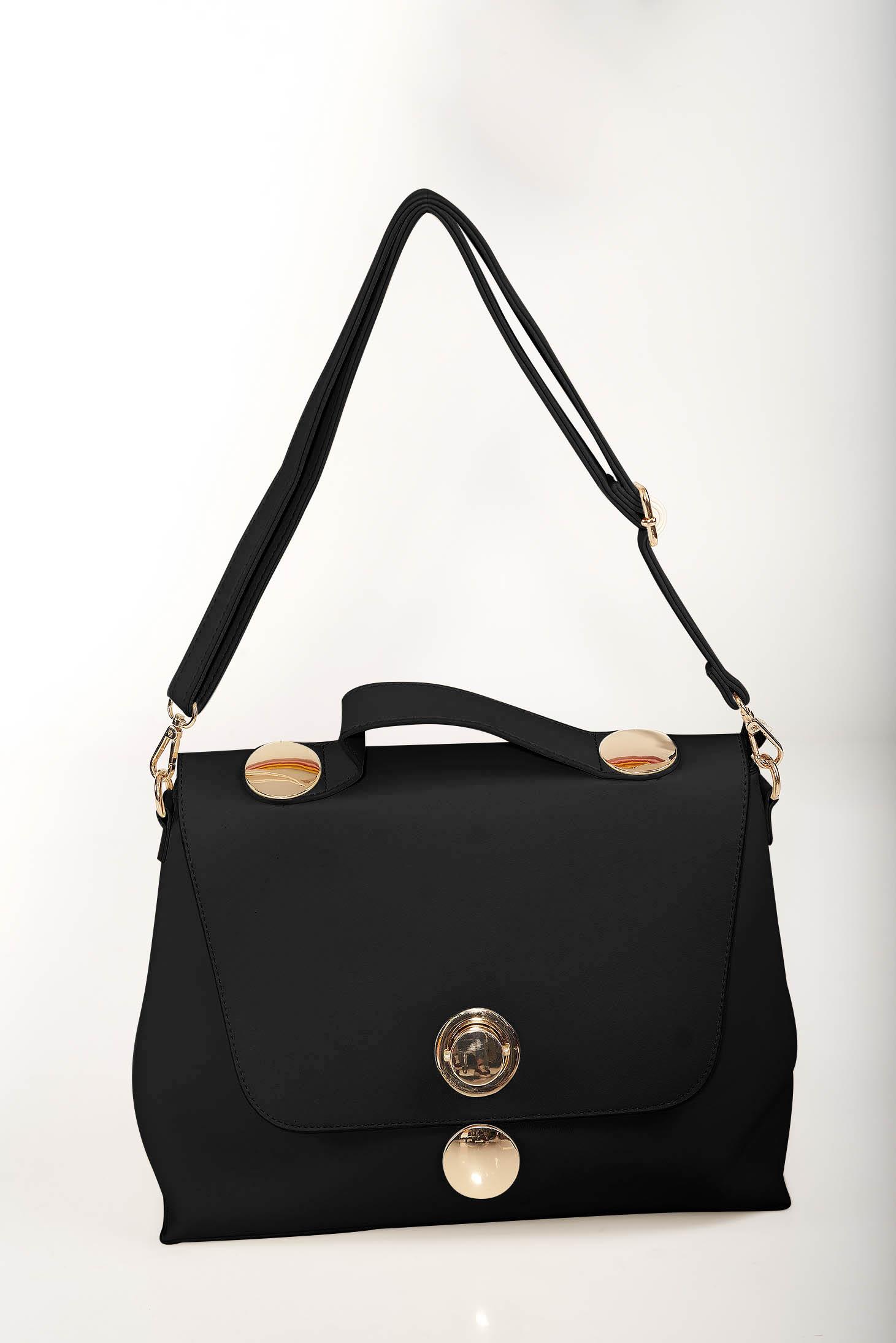 Black elegant bag faux leather golden metallic details dettachable shoulder strap
