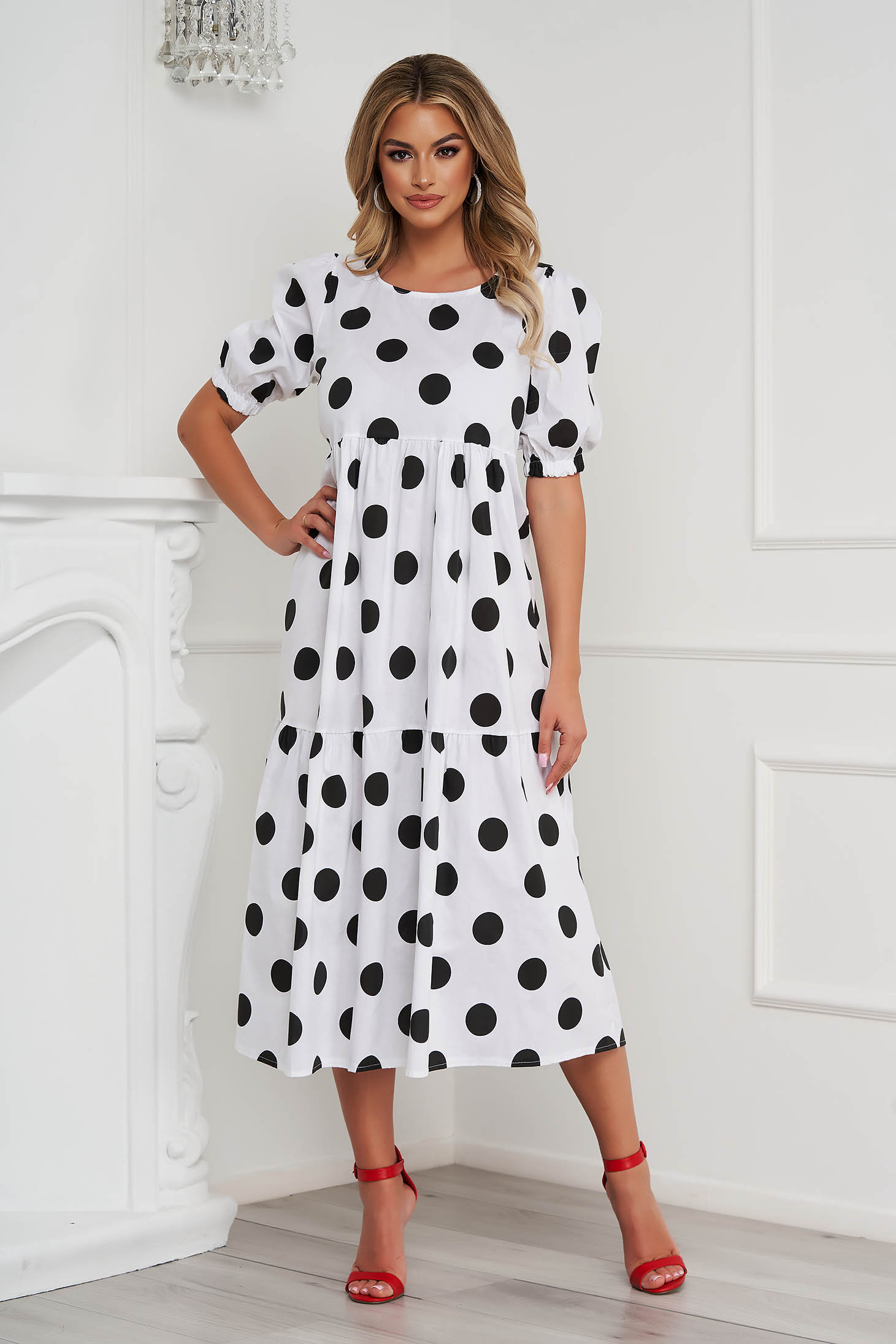 Black dress dots print loose fit with ruffle details airy fabric