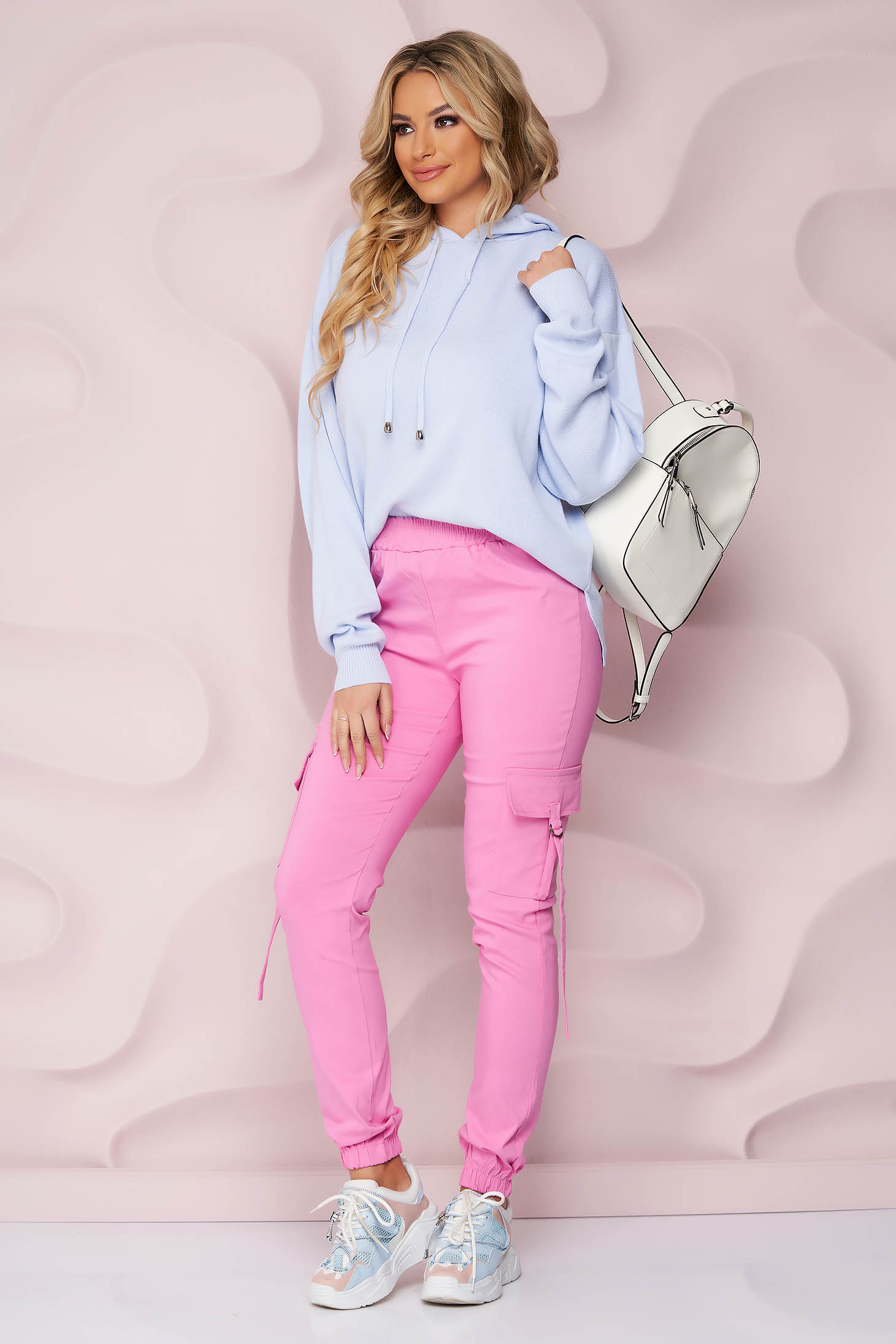 Pink trousers thin fabric conical high waisted with pockets